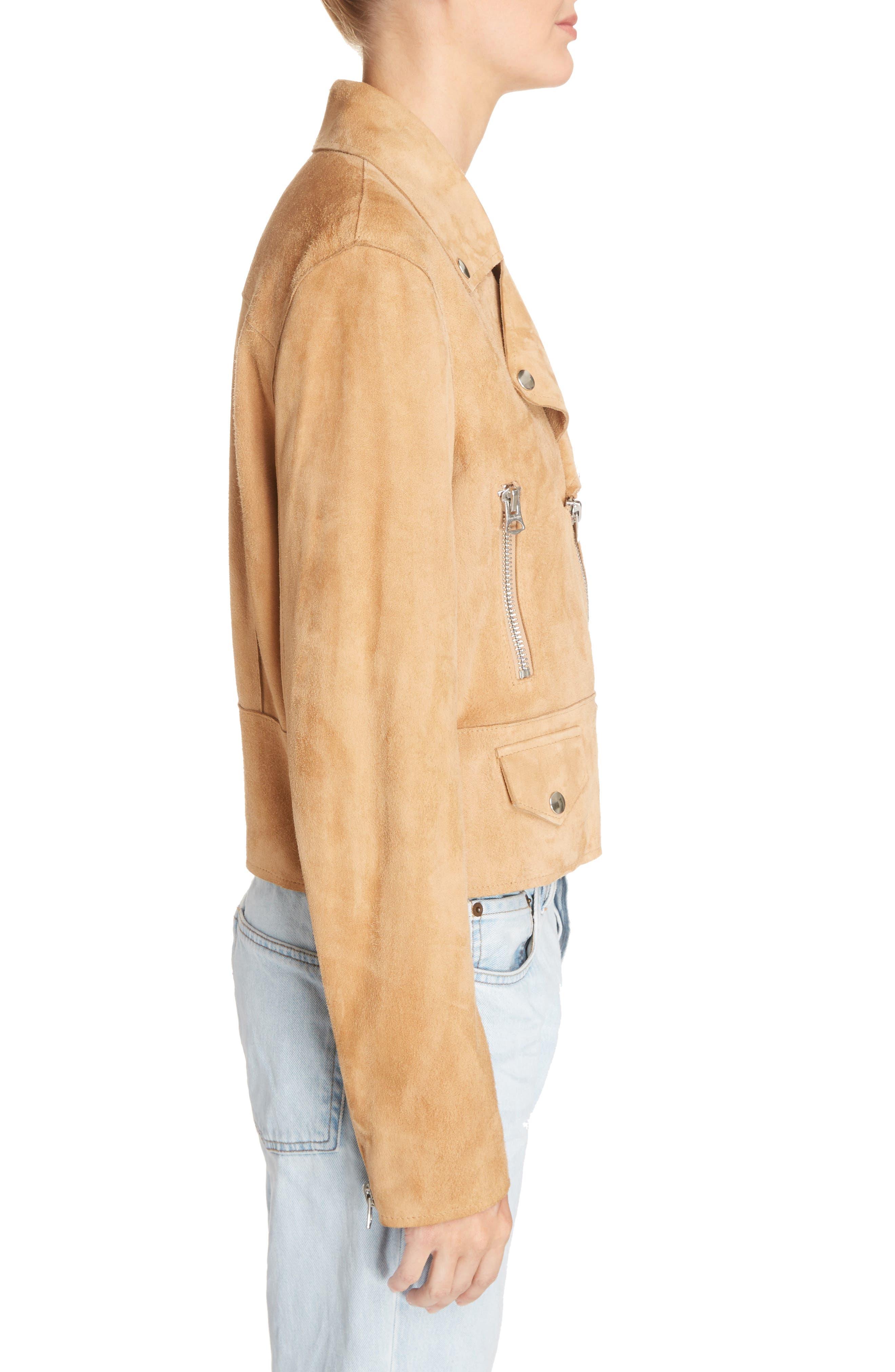 Suokki Suede Moto Jacket,                             Alternate thumbnail 5, color,                             Camel Brown