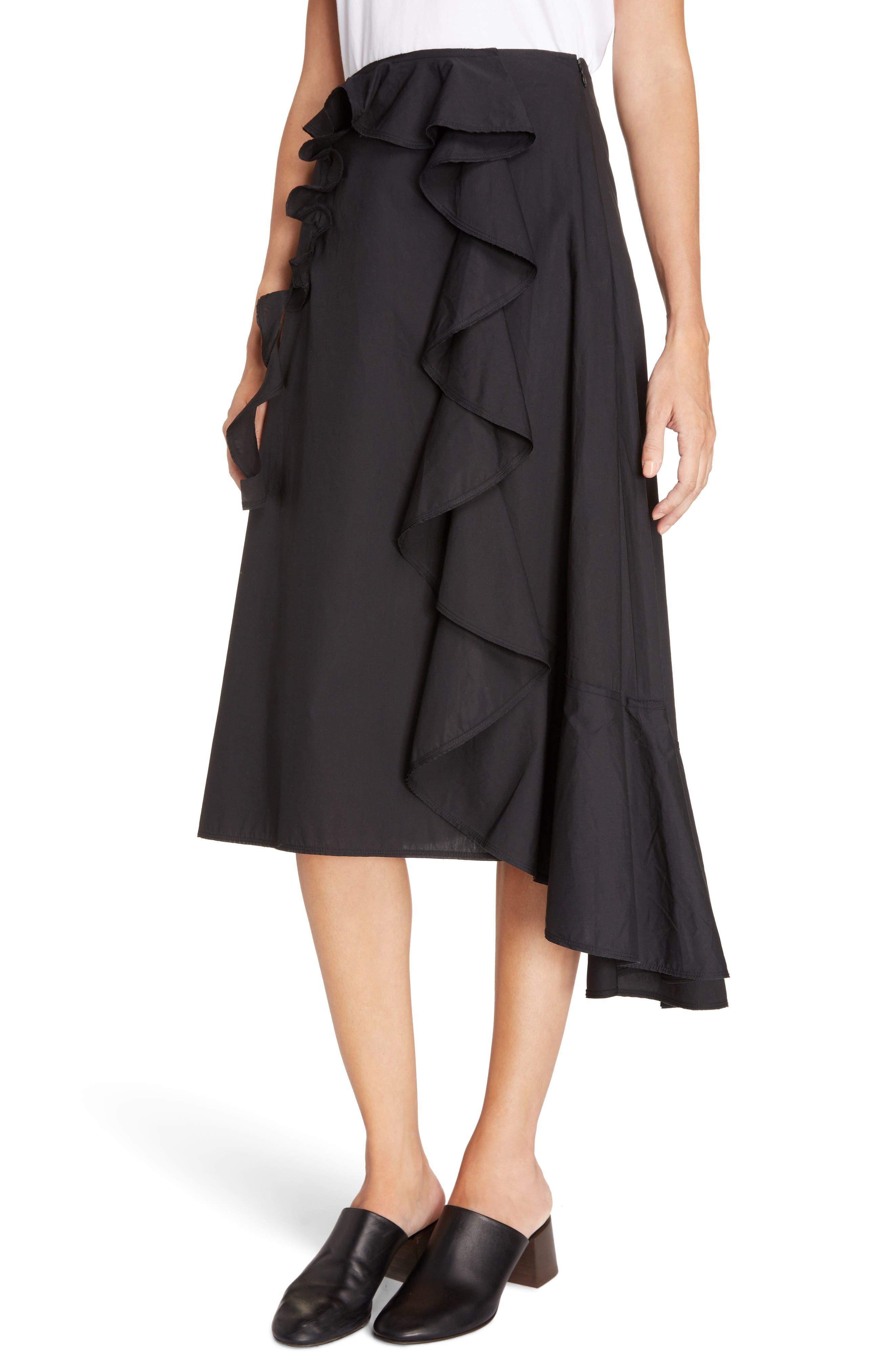 Hamina Ruffle Skirt,                             Alternate thumbnail 4, color,                             Black