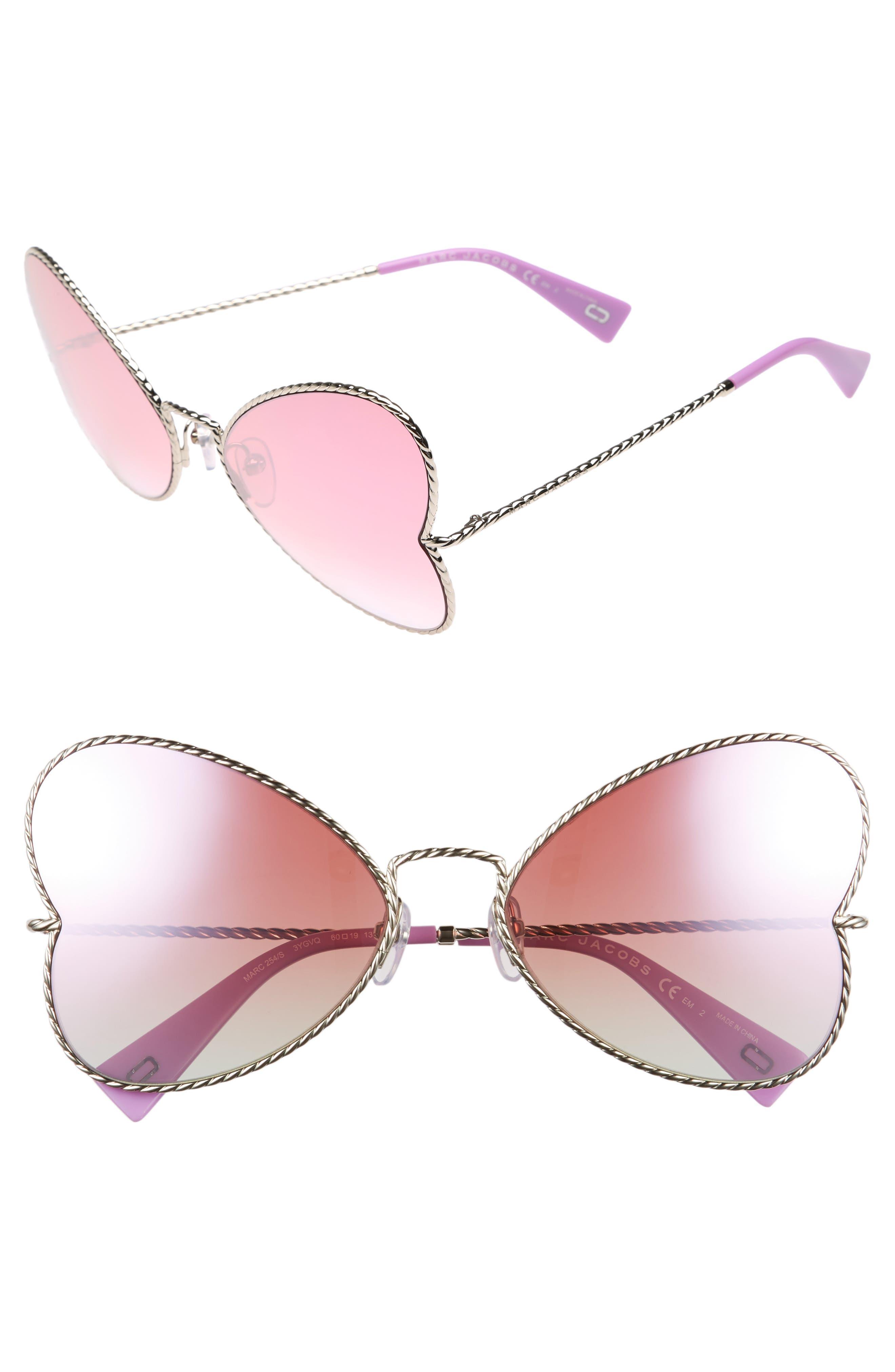 60mm Heart Sunglasses,                         Main,                         color, Gold