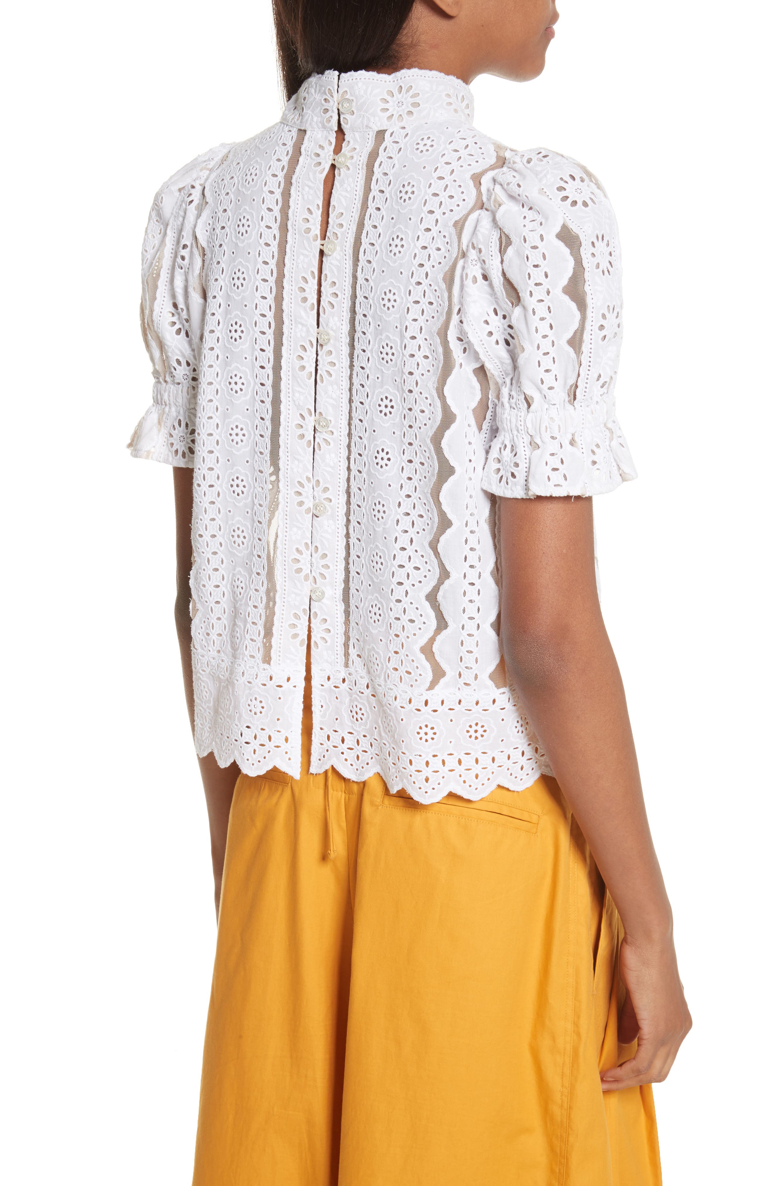 Luna Cotton Eyelet Top,                             Alternate thumbnail 4, color,                             White With Nude Mesh