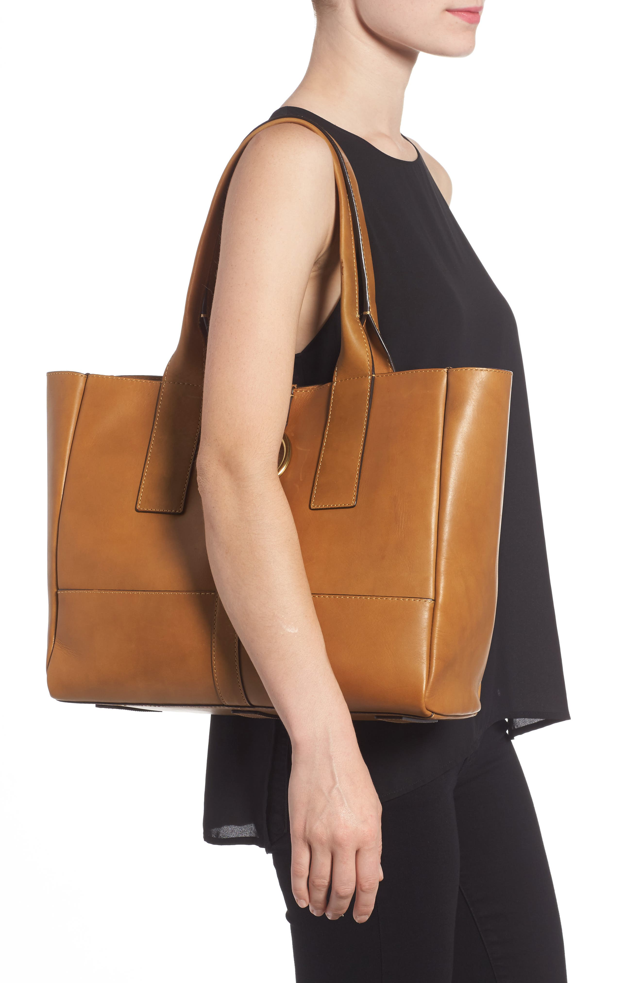Ilana Harness Leather Shopper,                             Alternate thumbnail 2, color,                             Cognac