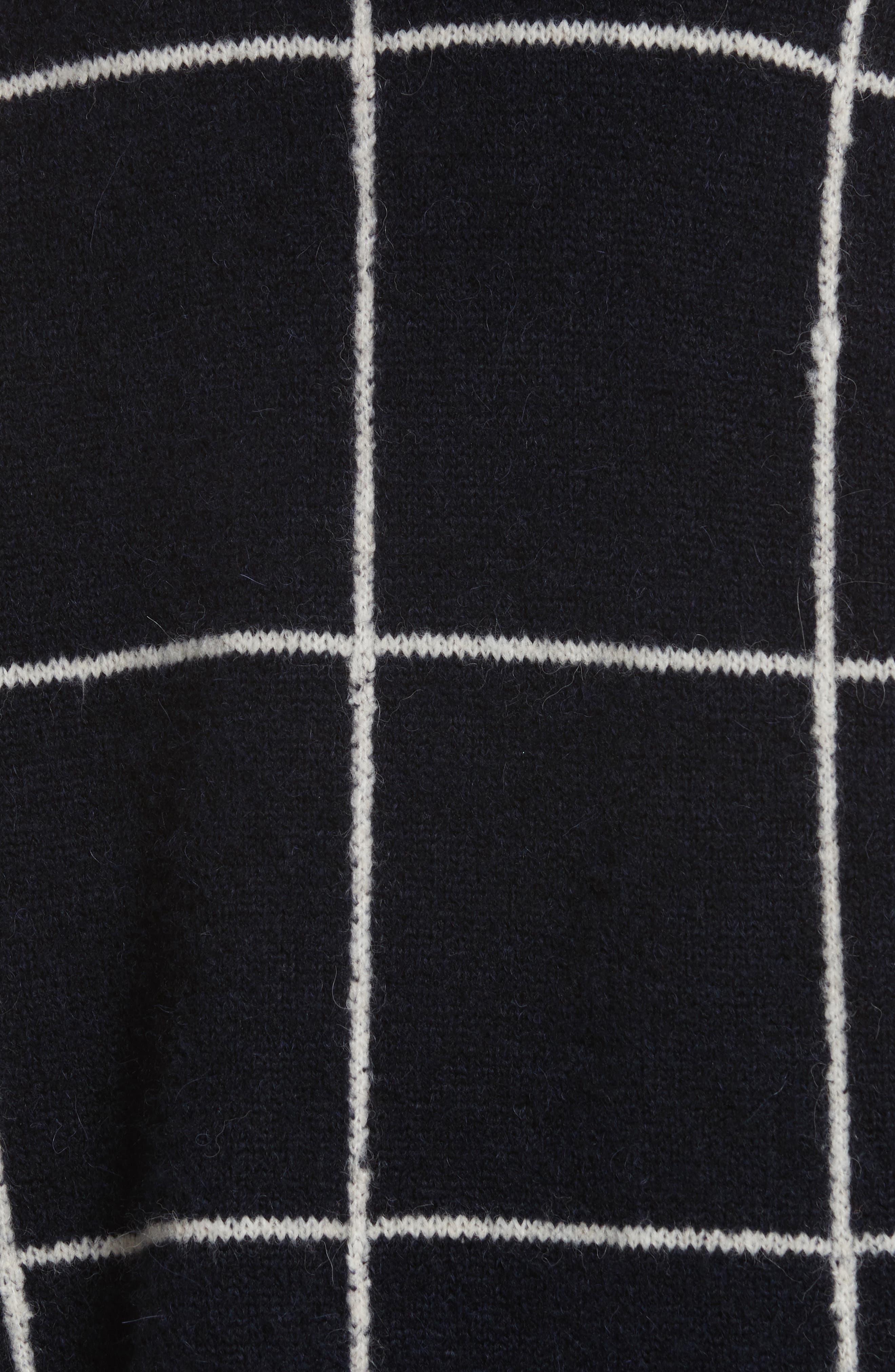Fionn Windowpane Oversized Sweater,                             Alternate thumbnail 5, color,                             Navy/ Alabaster/ Pollen