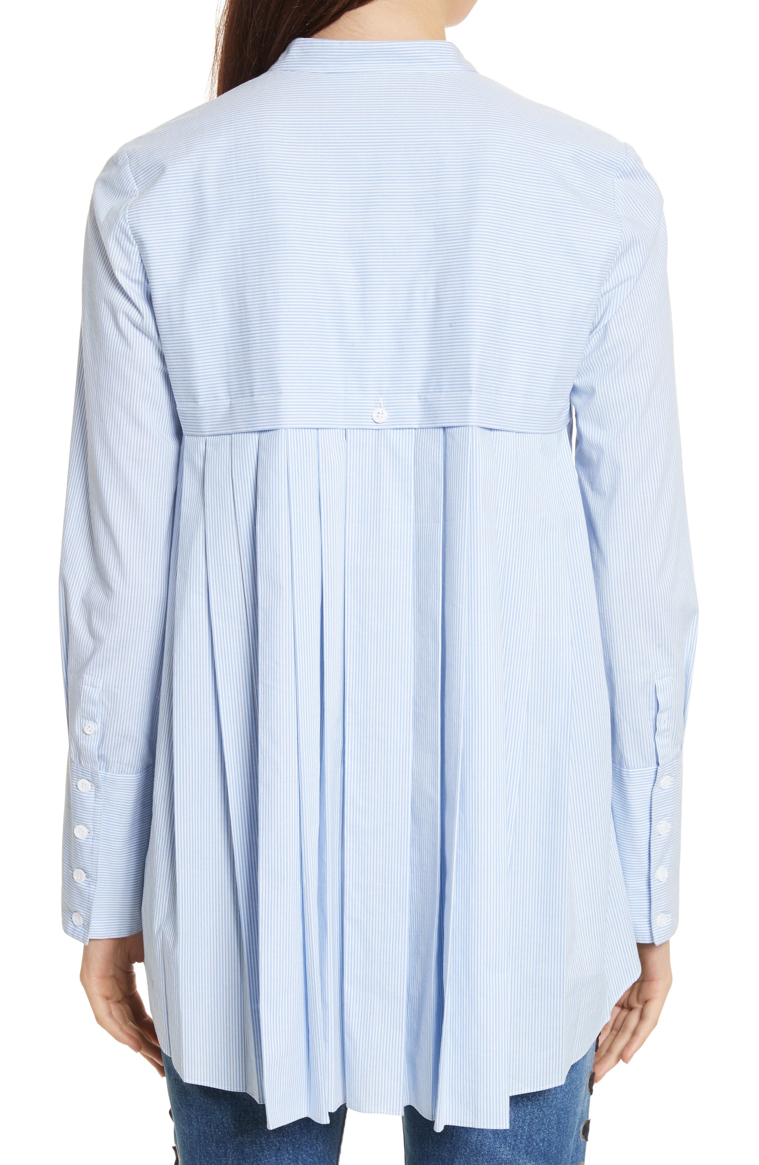 Alternate Image 2  - Veronica Beard Greer Pleated Stretch Cotton Shirt