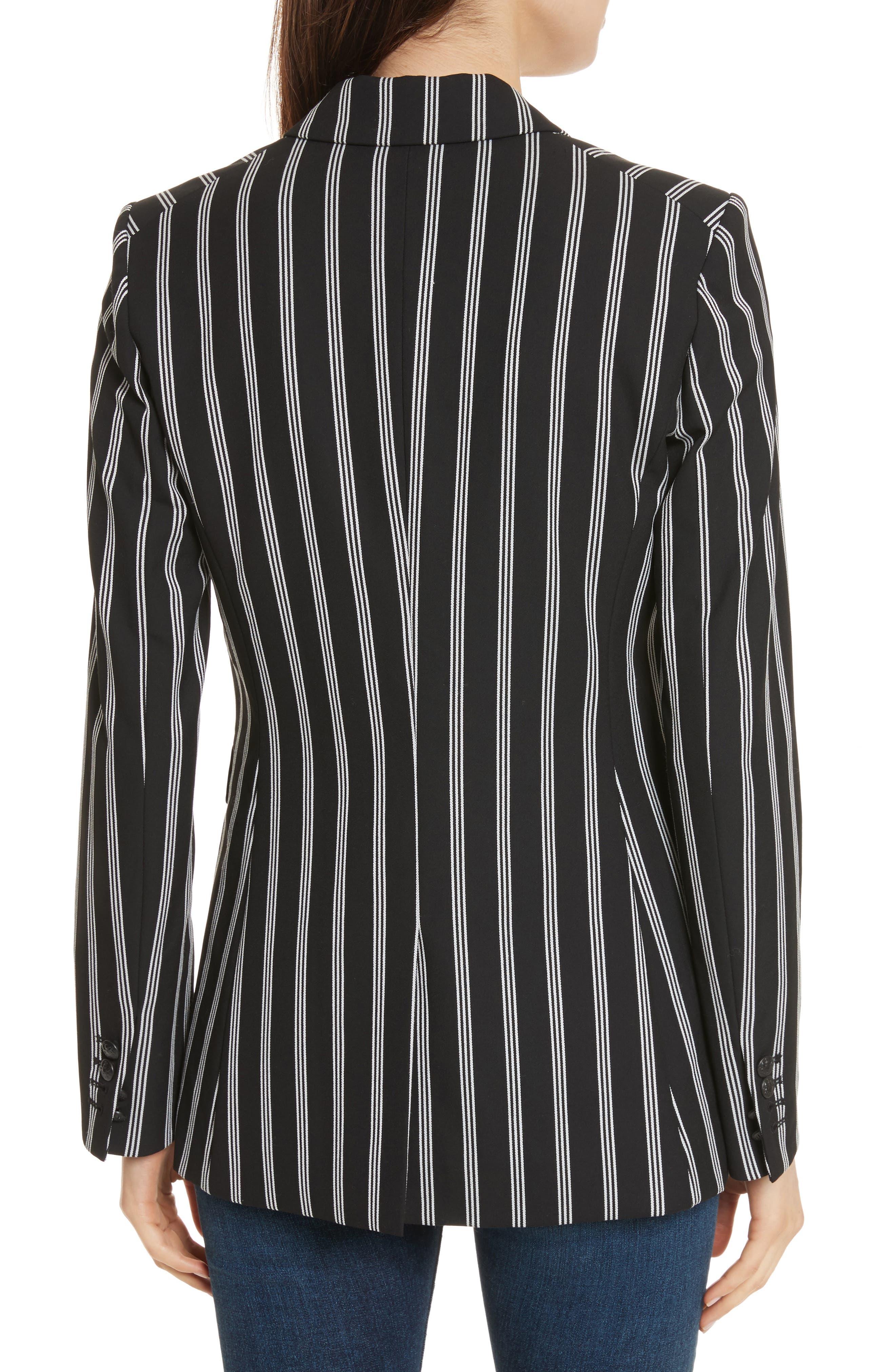 Petra Stripe Jacket,                             Alternate thumbnail 2, color,                             Black/ White