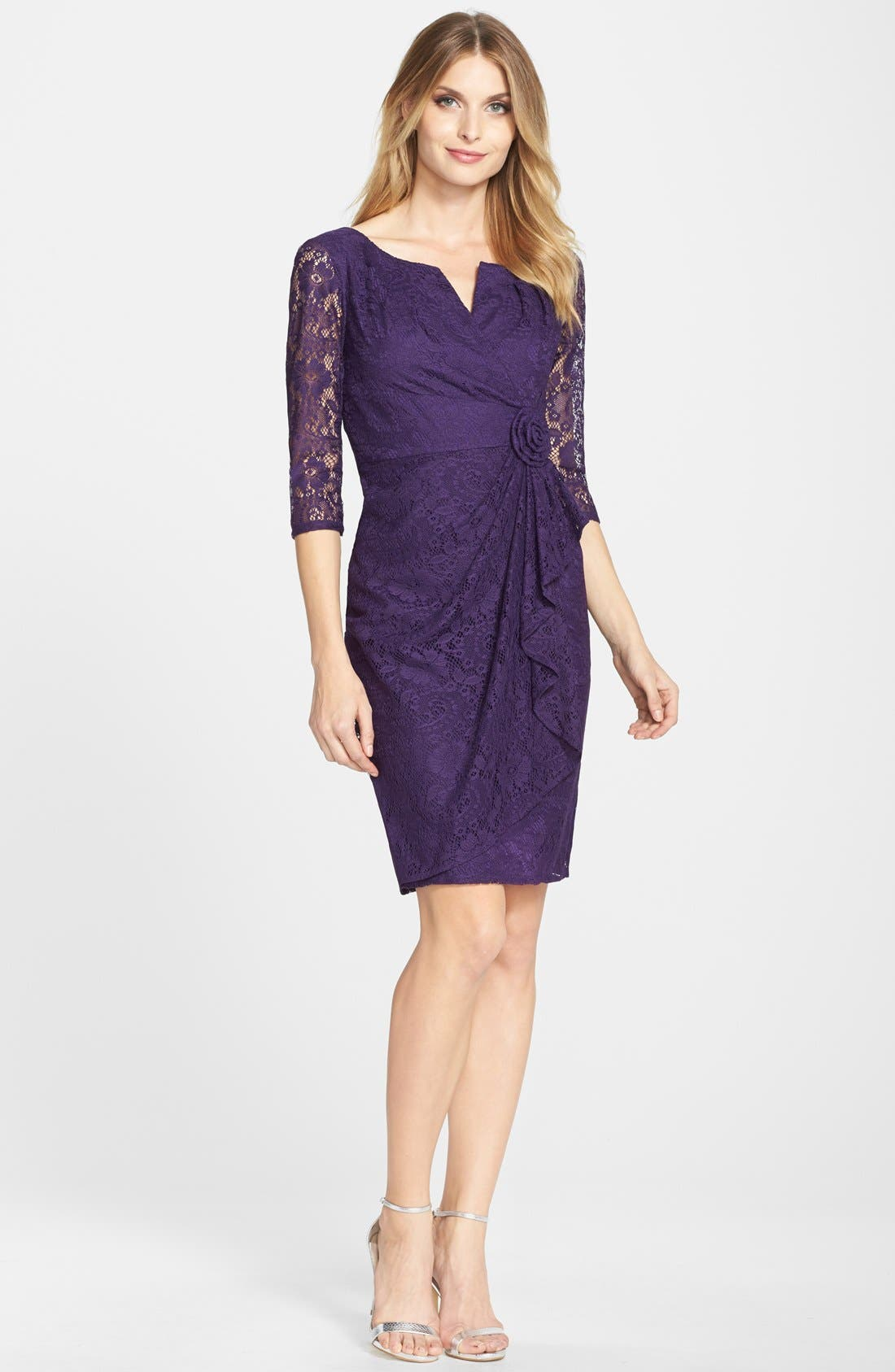 Alternate Image 3  - Adrianna Papell Rosette Side Lace Dress