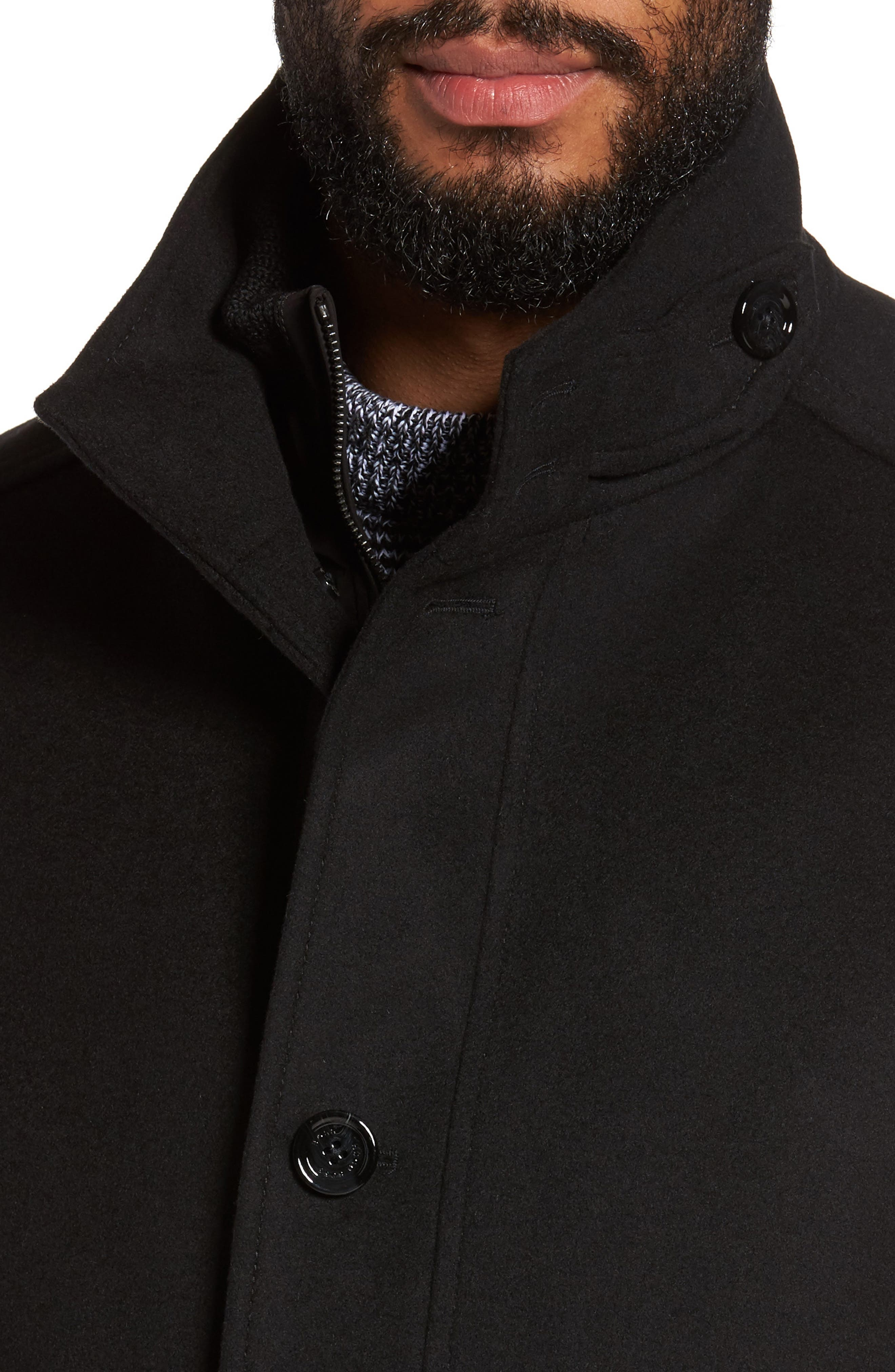 C-Coxtan Wool Blend Coat with Insert,                             Alternate thumbnail 4, color,                             Black