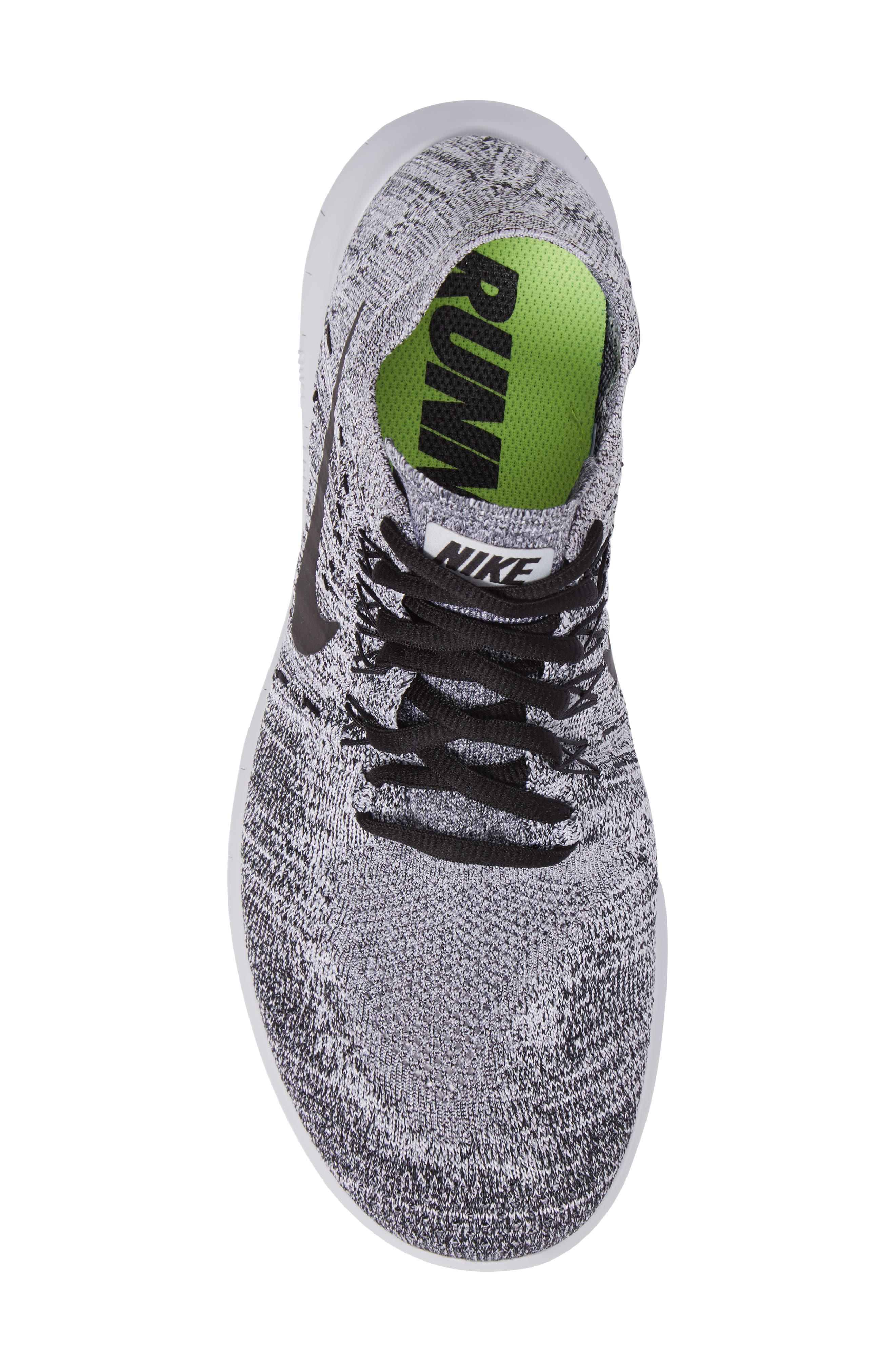 Free Run Flyknit 2017 Running Shoe,                             Alternate thumbnail 5, color,                             White/ Black/Stealth/Platinum