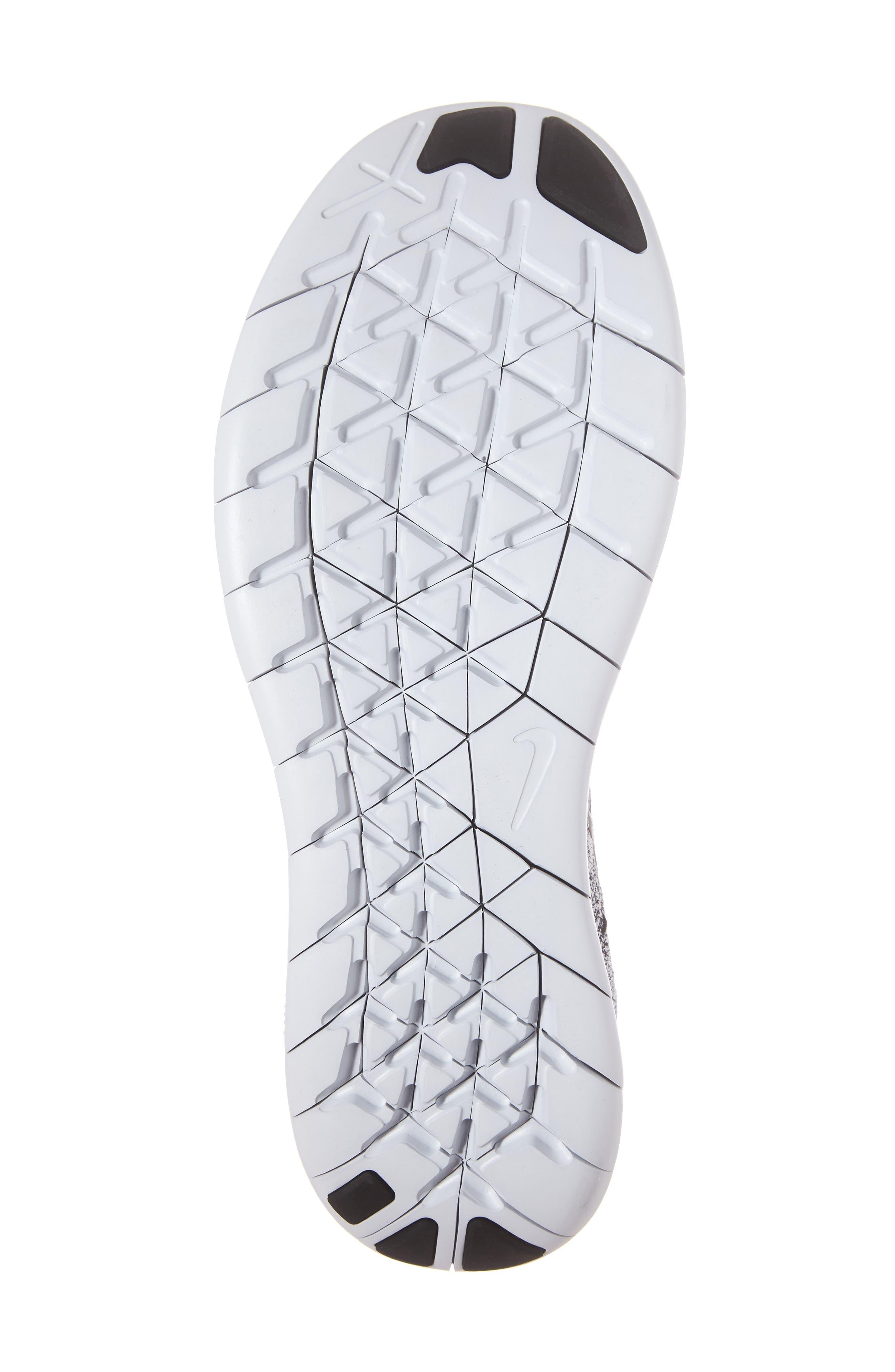 Free Run Flyknit 2017 Running Shoe,                             Alternate thumbnail 6, color,                             White/ Black/Stealth/Platinum