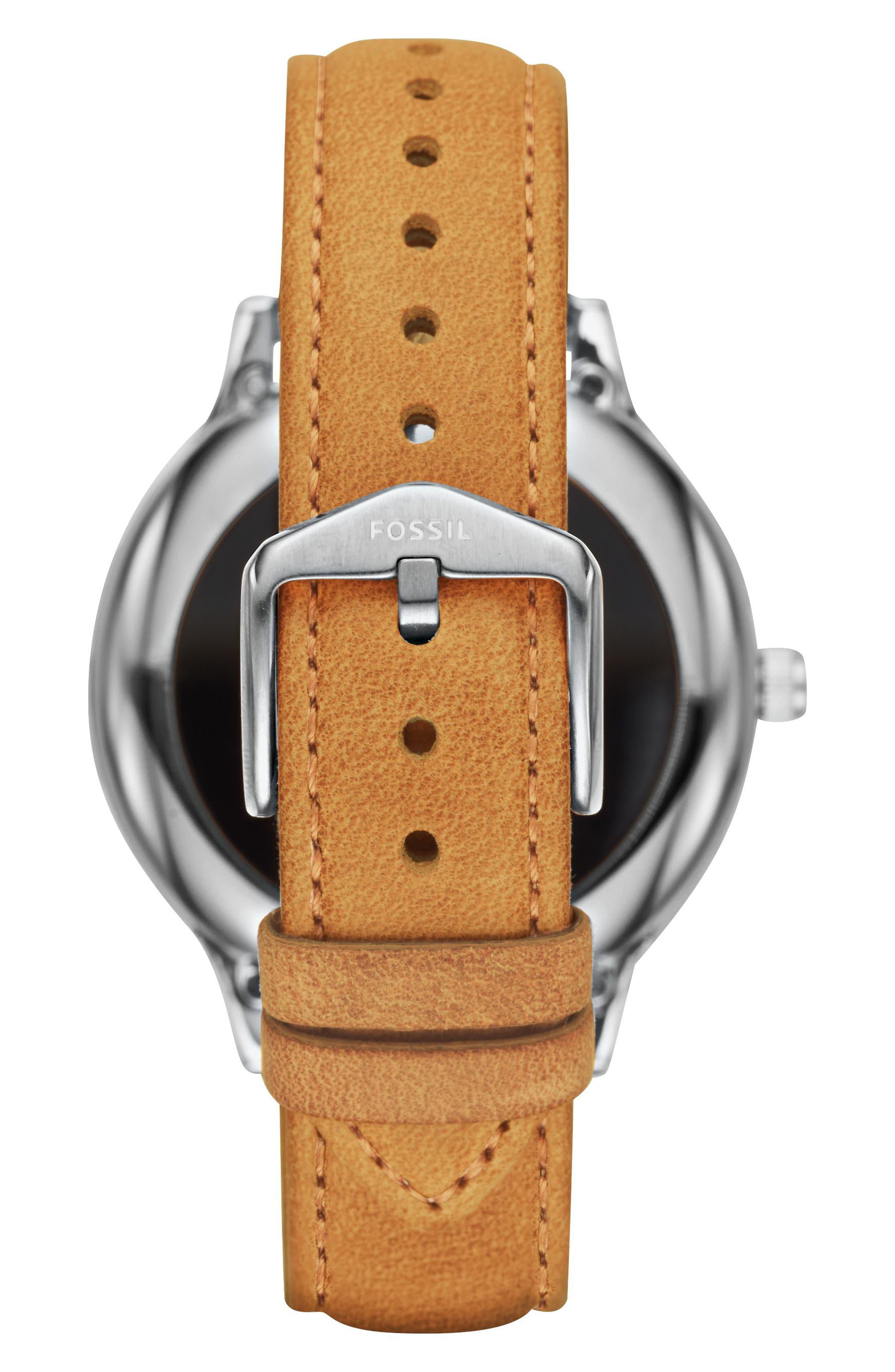 Venture Gen 3 Leather Strap Smart Watch, 42mm,                             Alternate thumbnail 3, color,                             Luggage/ Black/ Silver