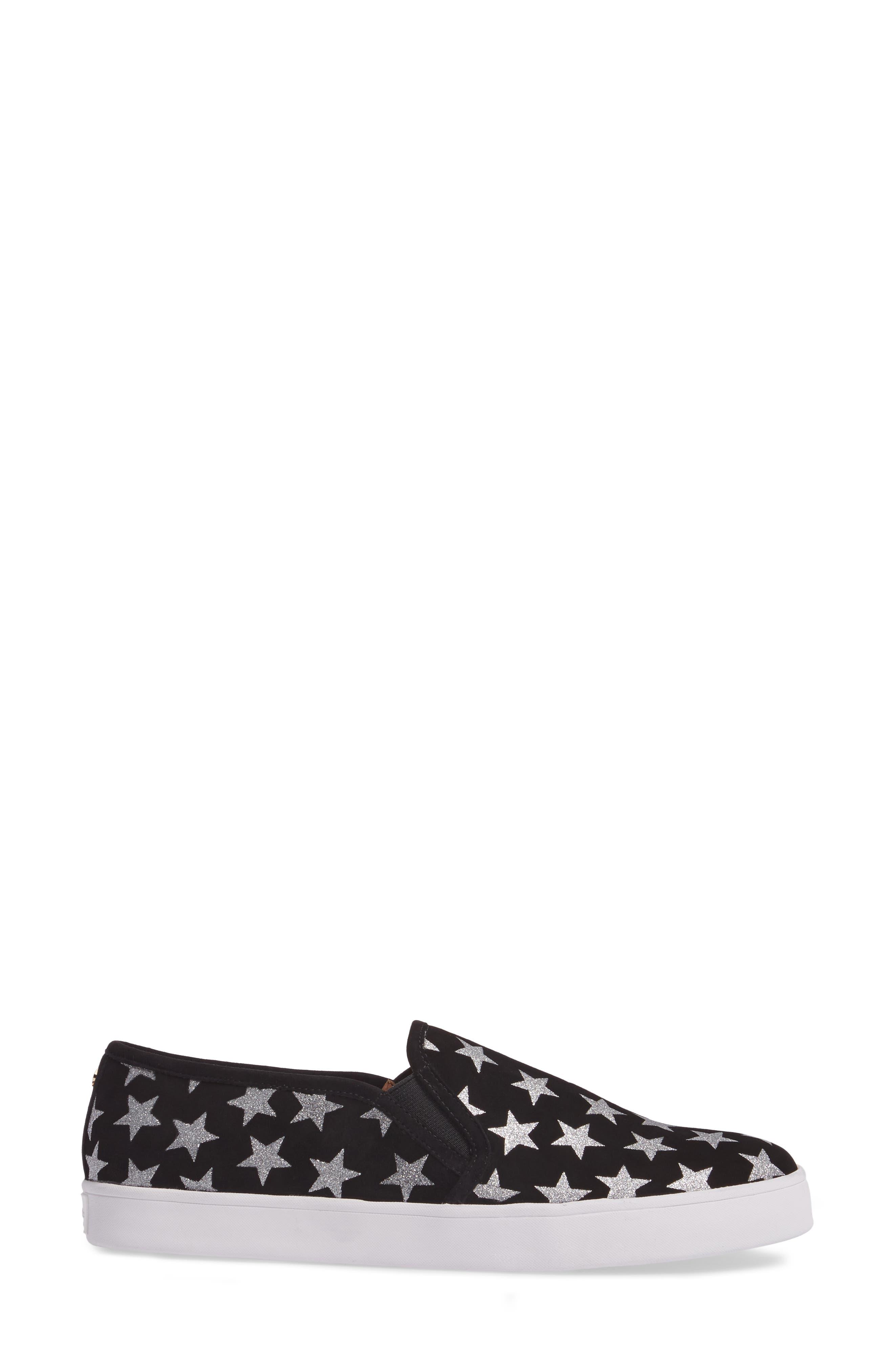 liberty slip-on sneaker,                             Alternate thumbnail 3, color,                             Black/ Silver