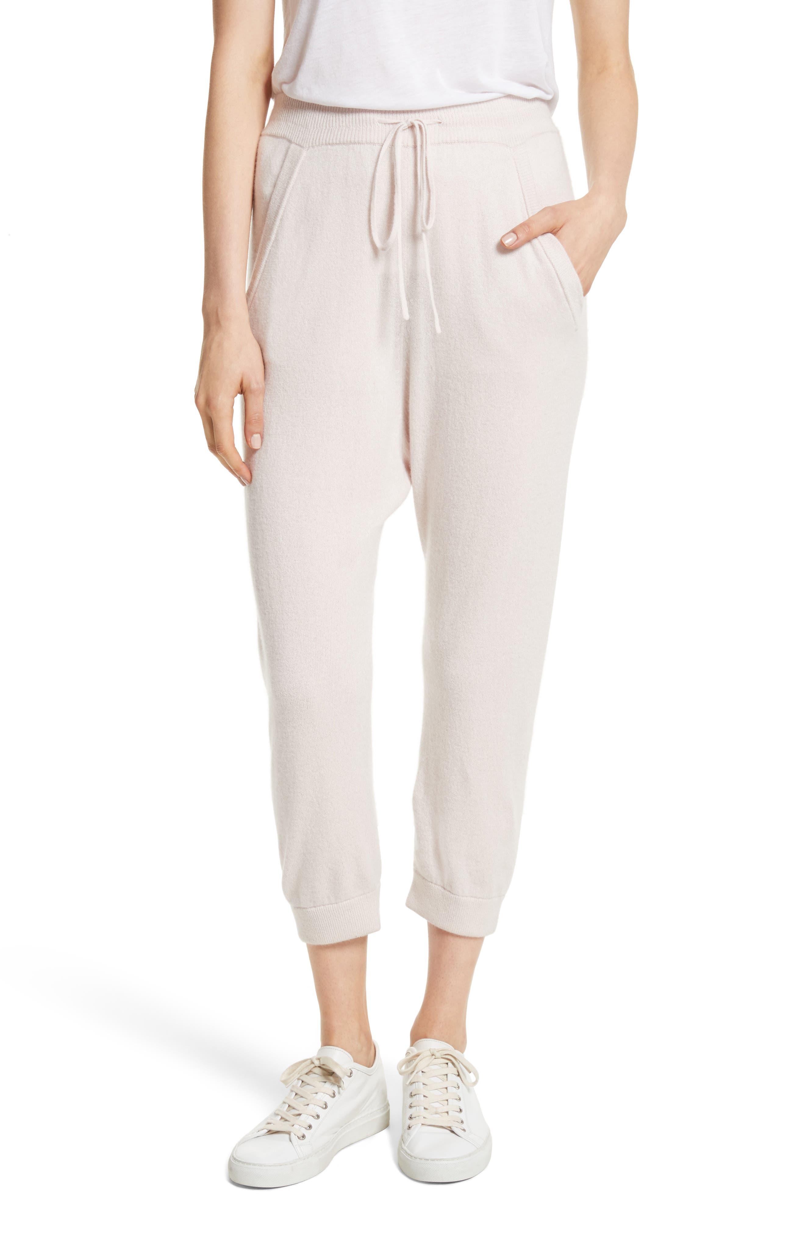 Janina Cashmere Crop Lounge Pants,                             Main thumbnail 1, color,                             Blush