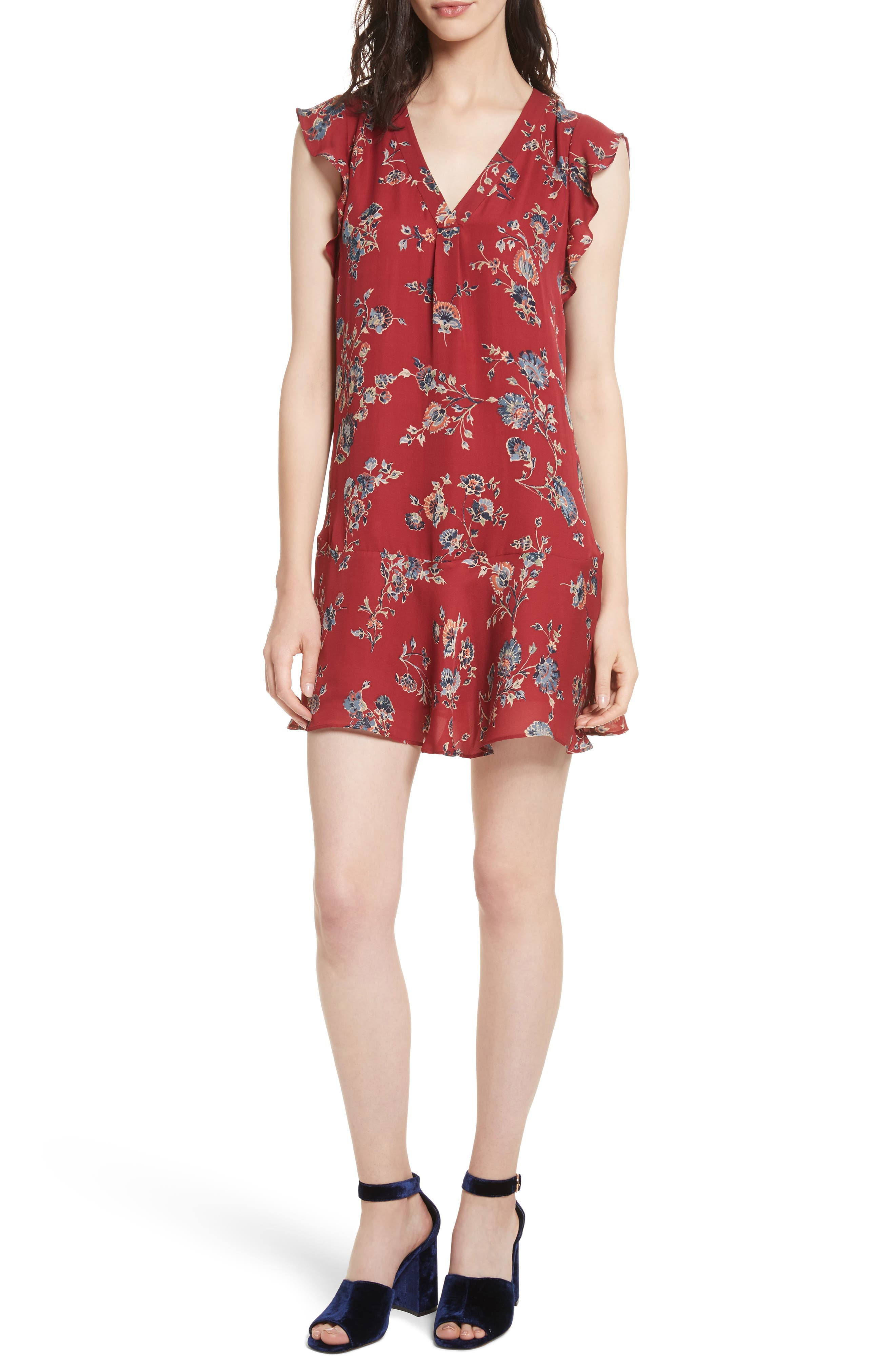 Almarie Floral Silk Mindress,                         Main,                         color, Tandoori Red