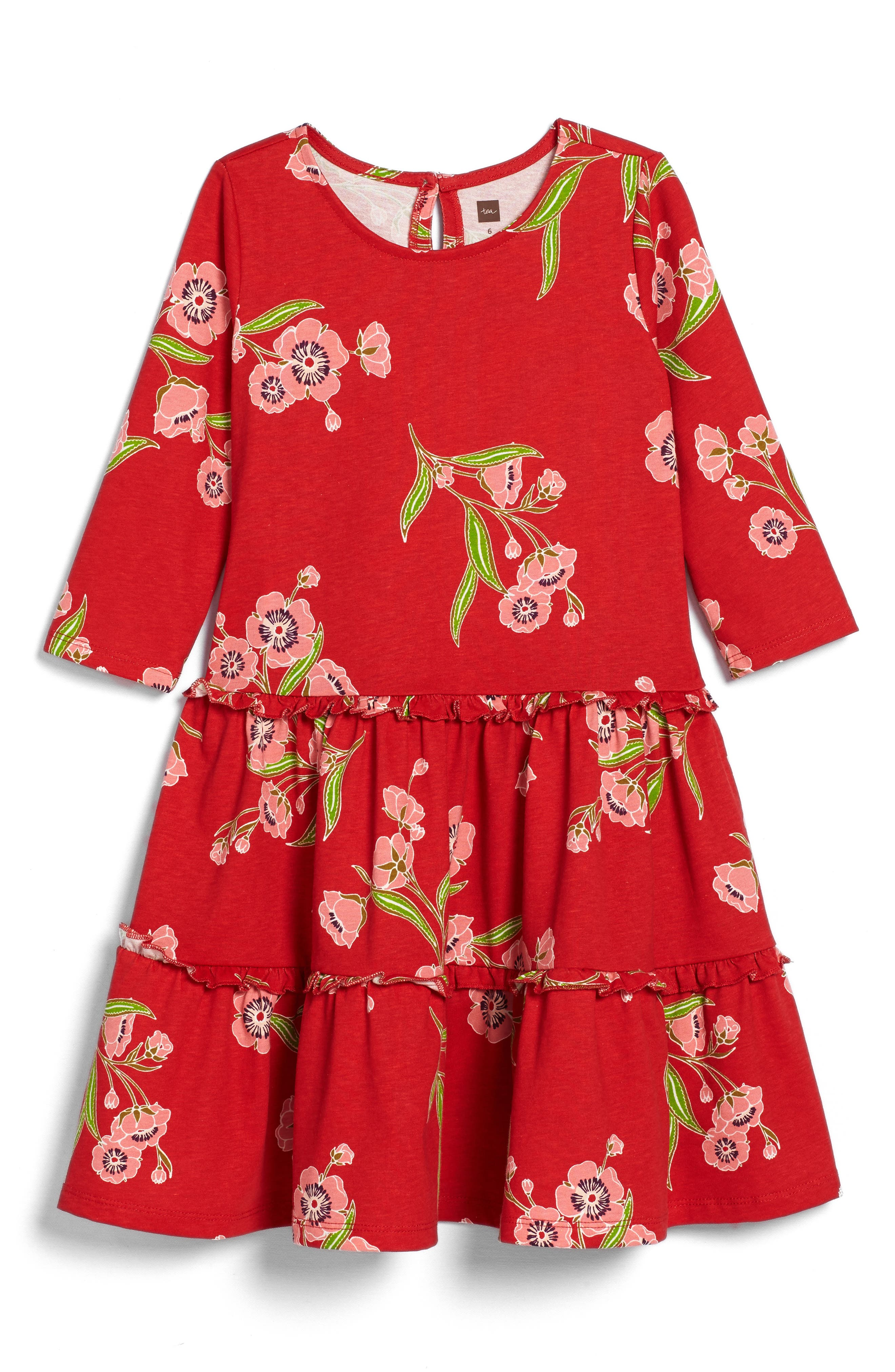 Rowan Floral Print Tiered Dress,                             Main thumbnail 1, color,                             Red Lantern
