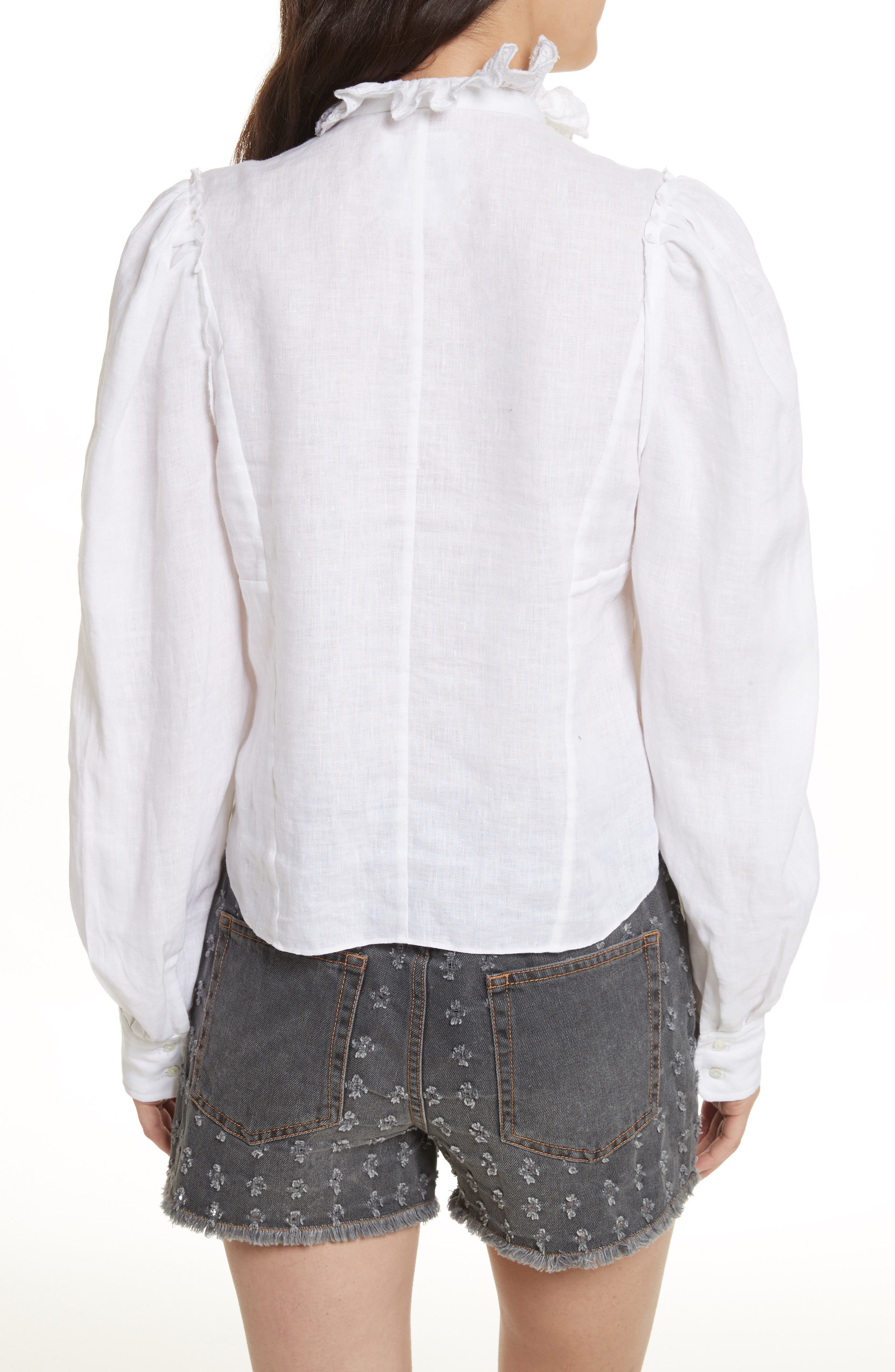 Isabel Marant Étoile Tauren Broderie Linen Shirt,                             Alternate thumbnail 2, color,                             White