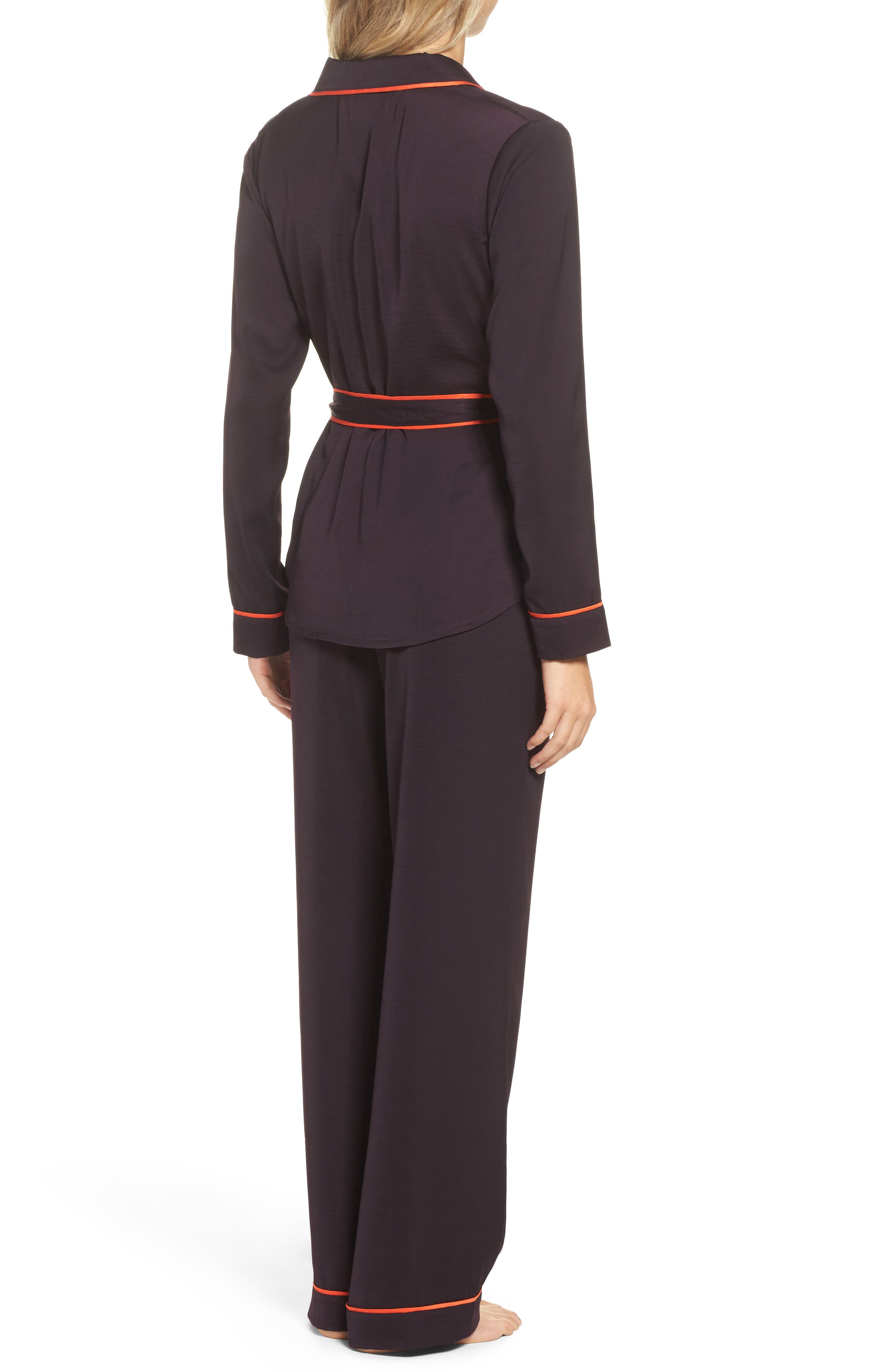 Alternate Image 2  - Room Service Belted Satin Pajamas