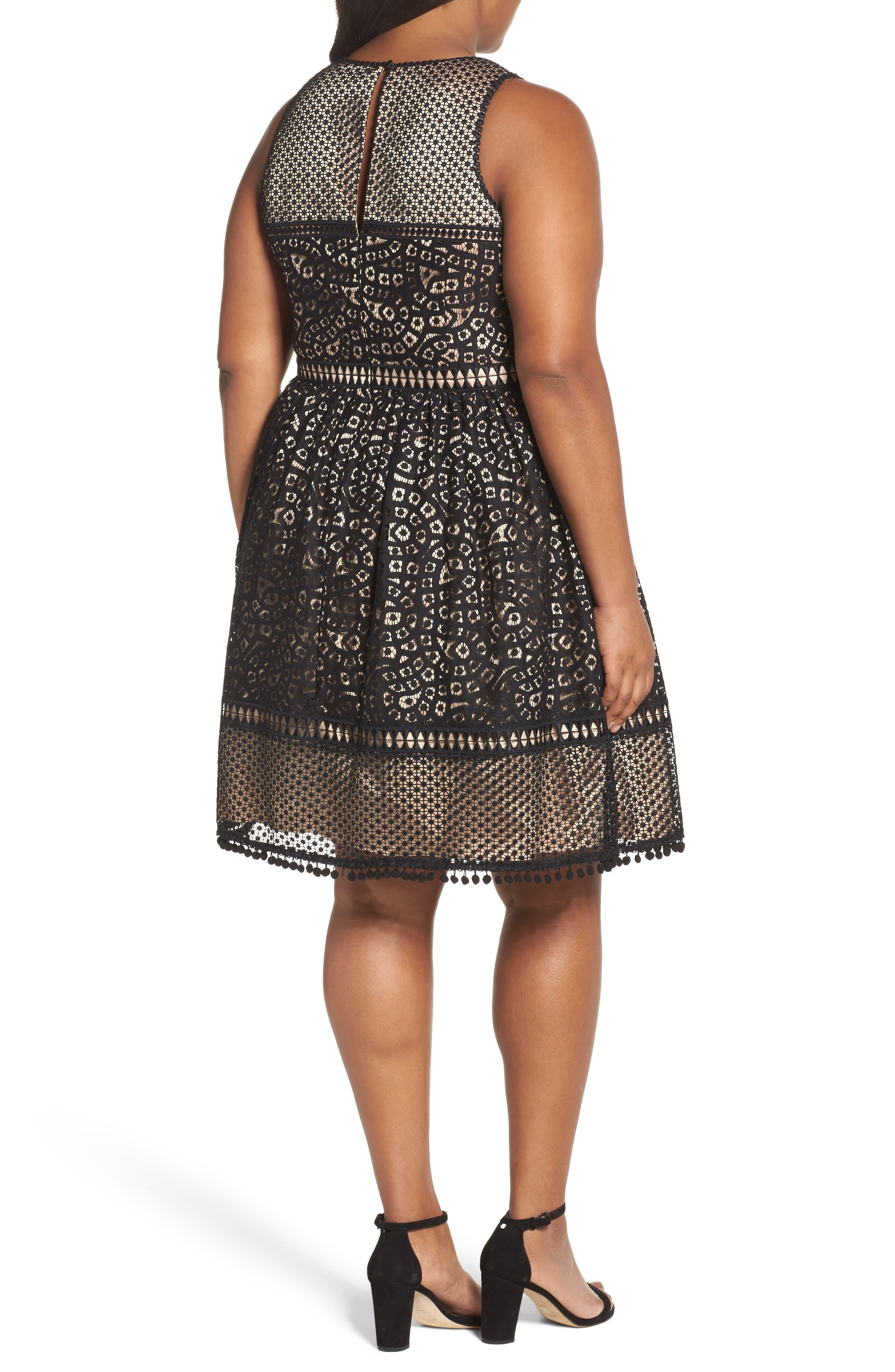 Sleeveless Lace Trim Fit & Flare Dress,                             Alternate thumbnail 3, color,                             Black