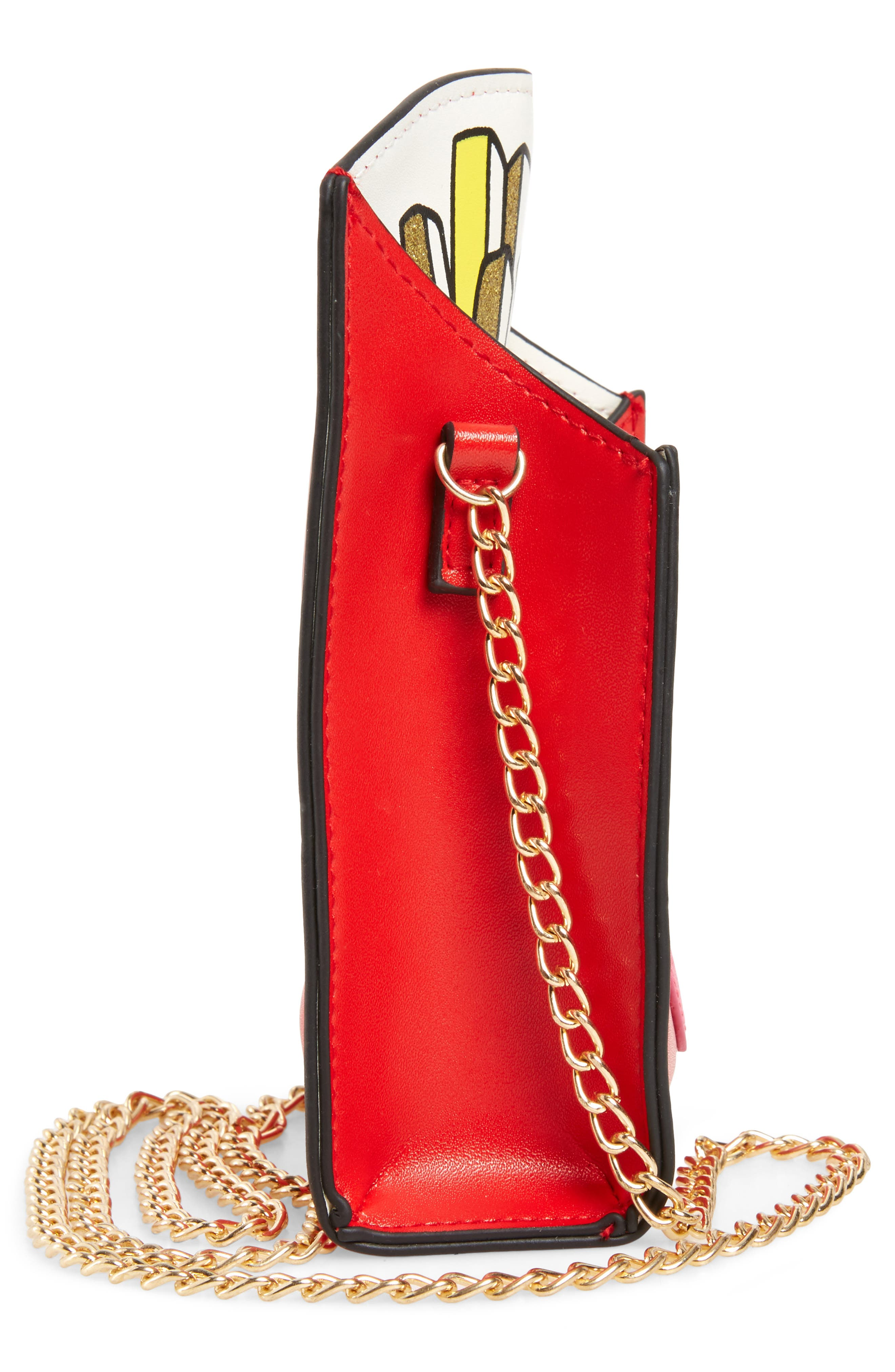 French Fries Faux Leather Bag,                             Alternate thumbnail 4, color,                             Red Combo