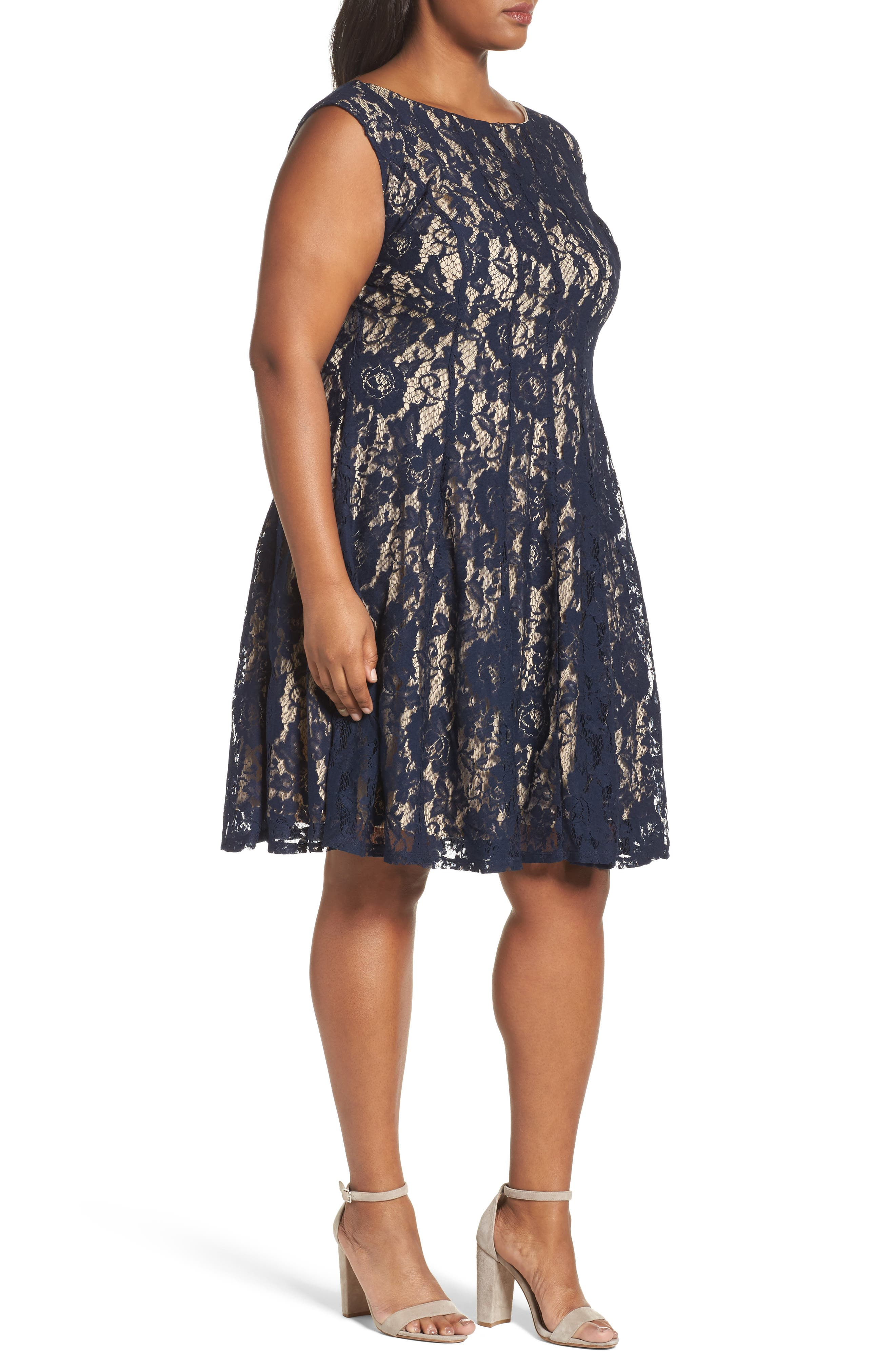 Lace Fit & Flare Dress,                             Alternate thumbnail 3, color,                             Navy/ Nude
