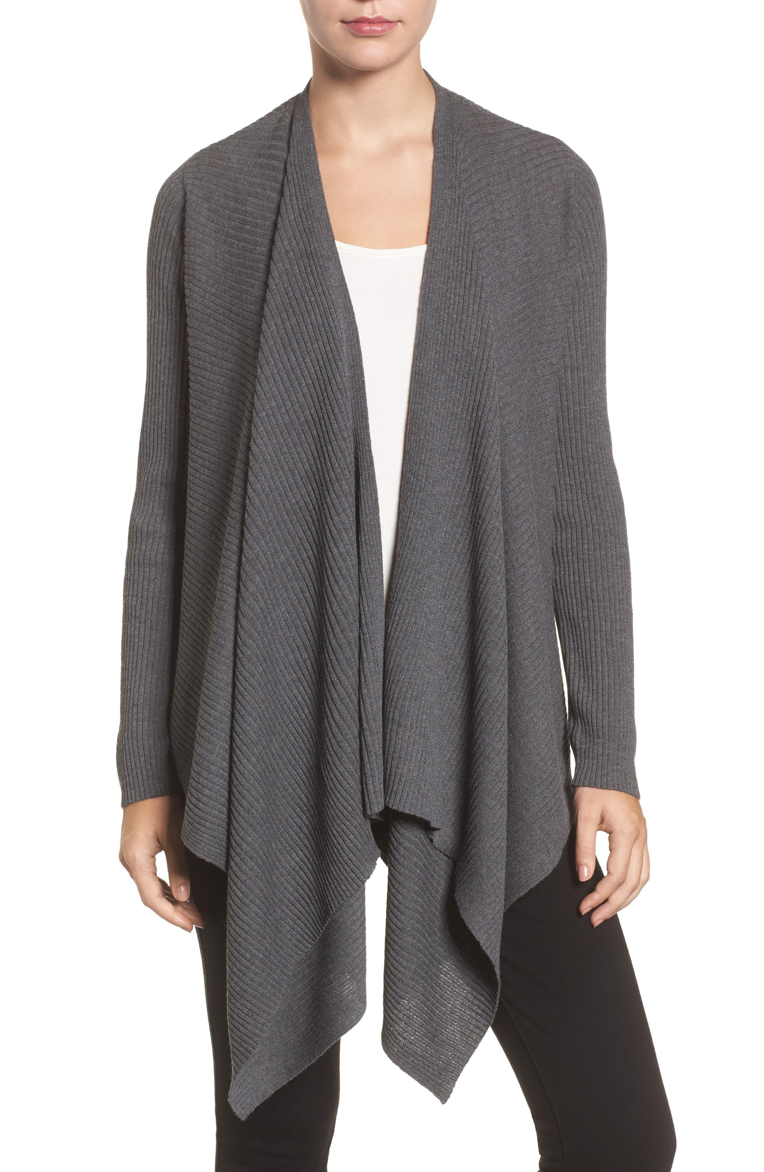 Alternate Image 1 Selected - Eileen Fisher Drape Front Wool Cardigan