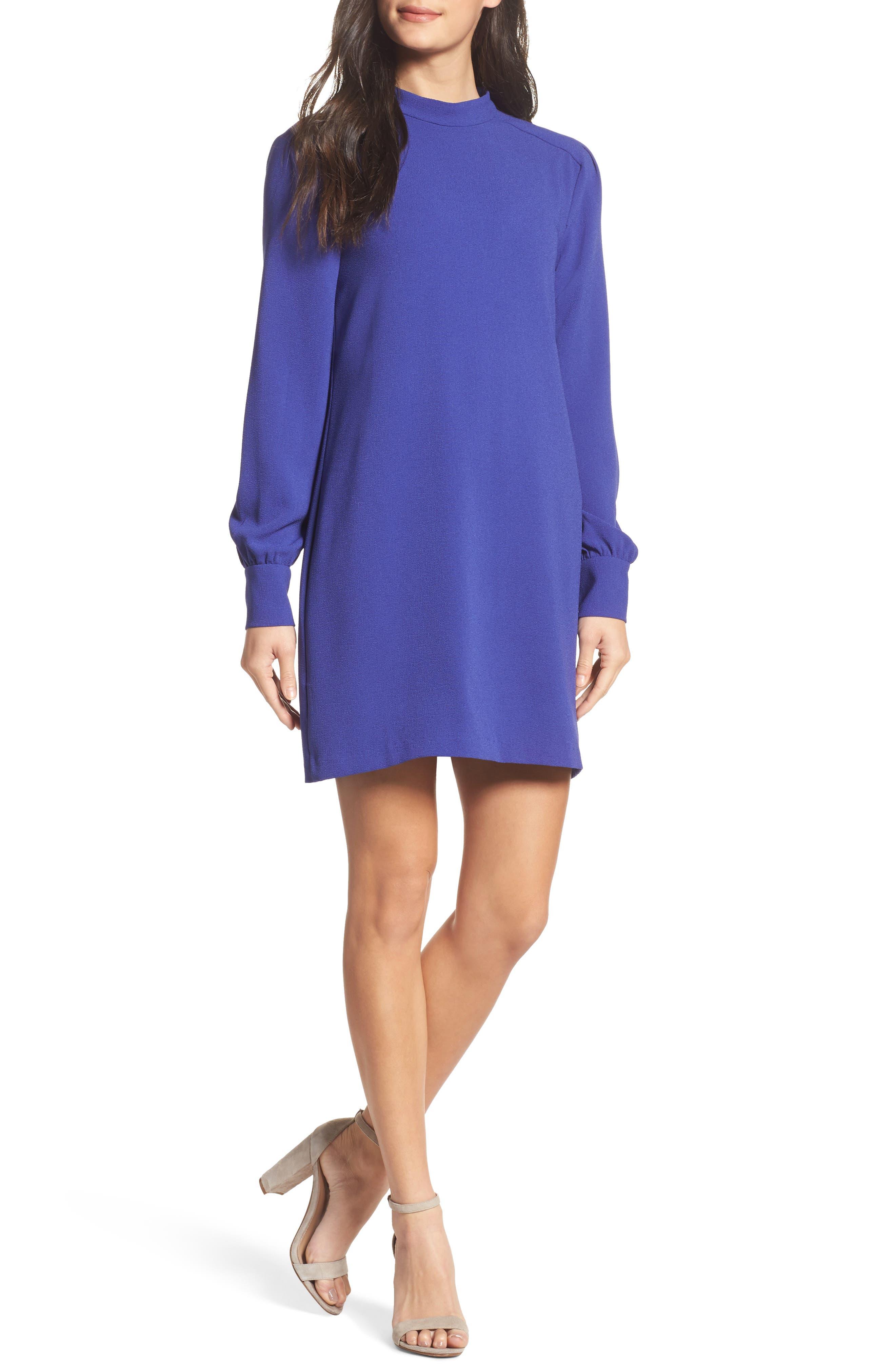 Blouson Sleeve Shift Dress,                         Main,                         color, Spectrum Blue