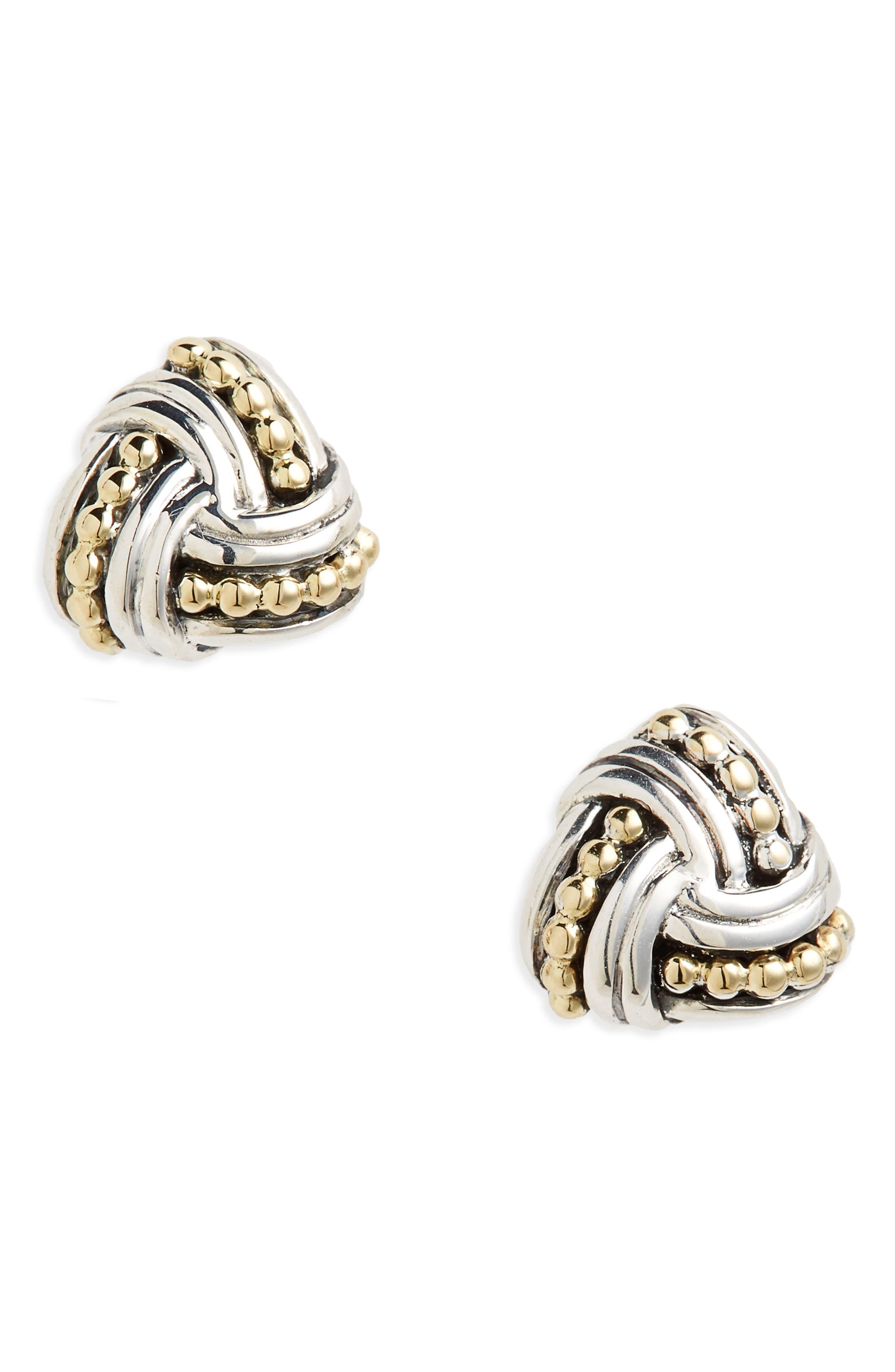 Torsade Stud Earrings,                         Main,                         color, Silver/ Gold