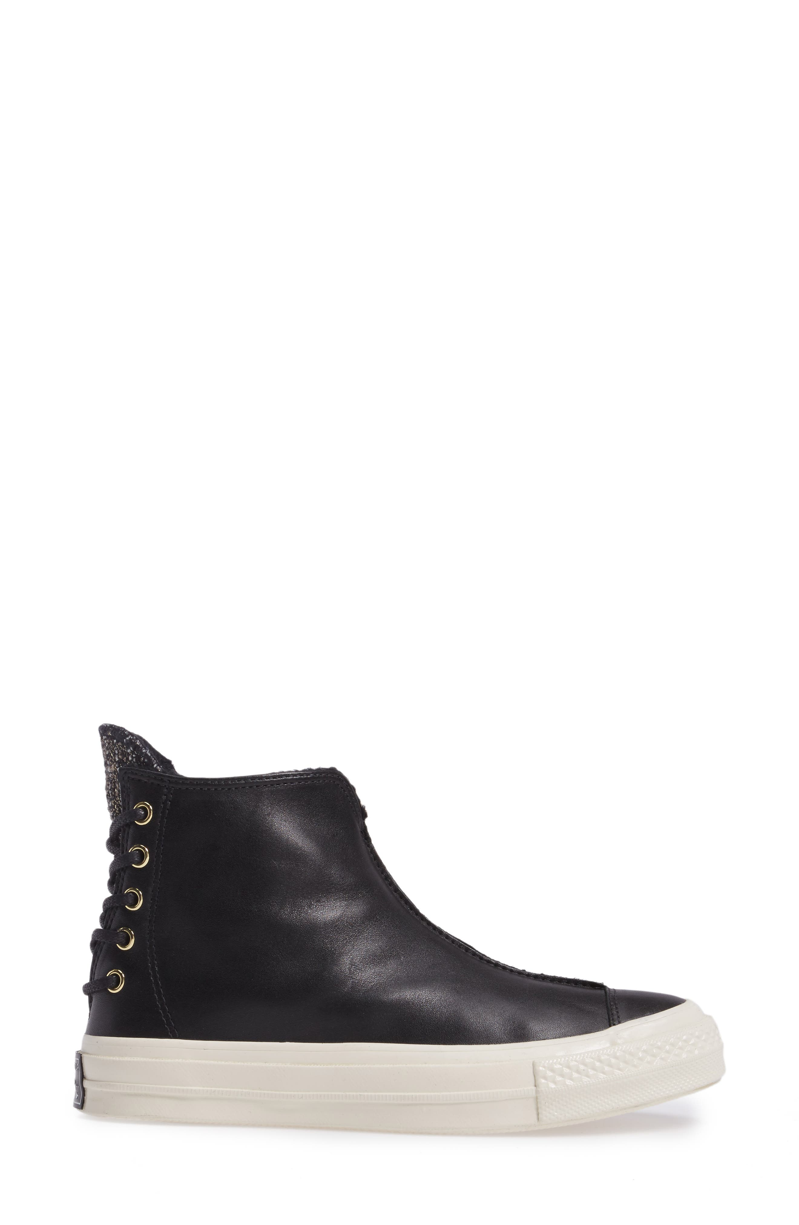 Chuck Taylor<sup>®</sup> All Star<sup>®</sup> Chuck 70 Punk Sneaker Boot,                             Alternate thumbnail 3, color,                             Black Leather