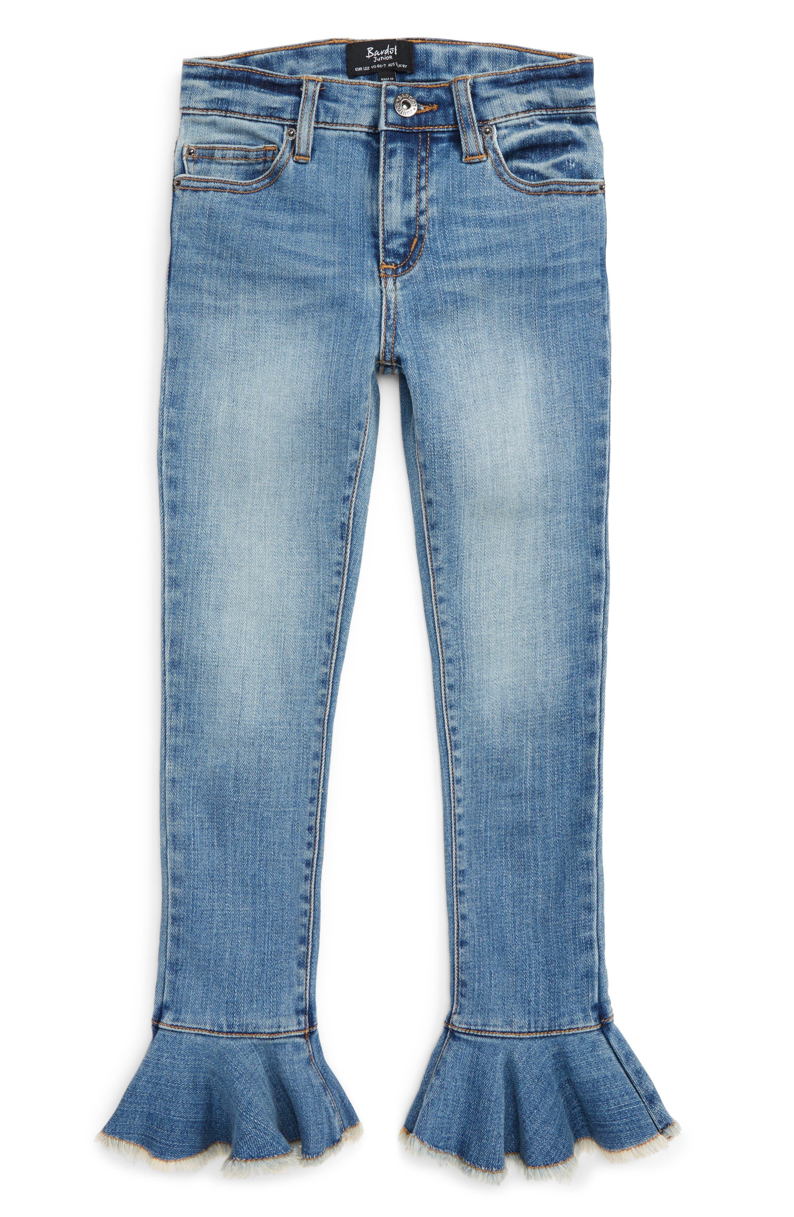 Bardot Junior Tulsa Ruffle Hem Skinny Jeans (Big Girls)