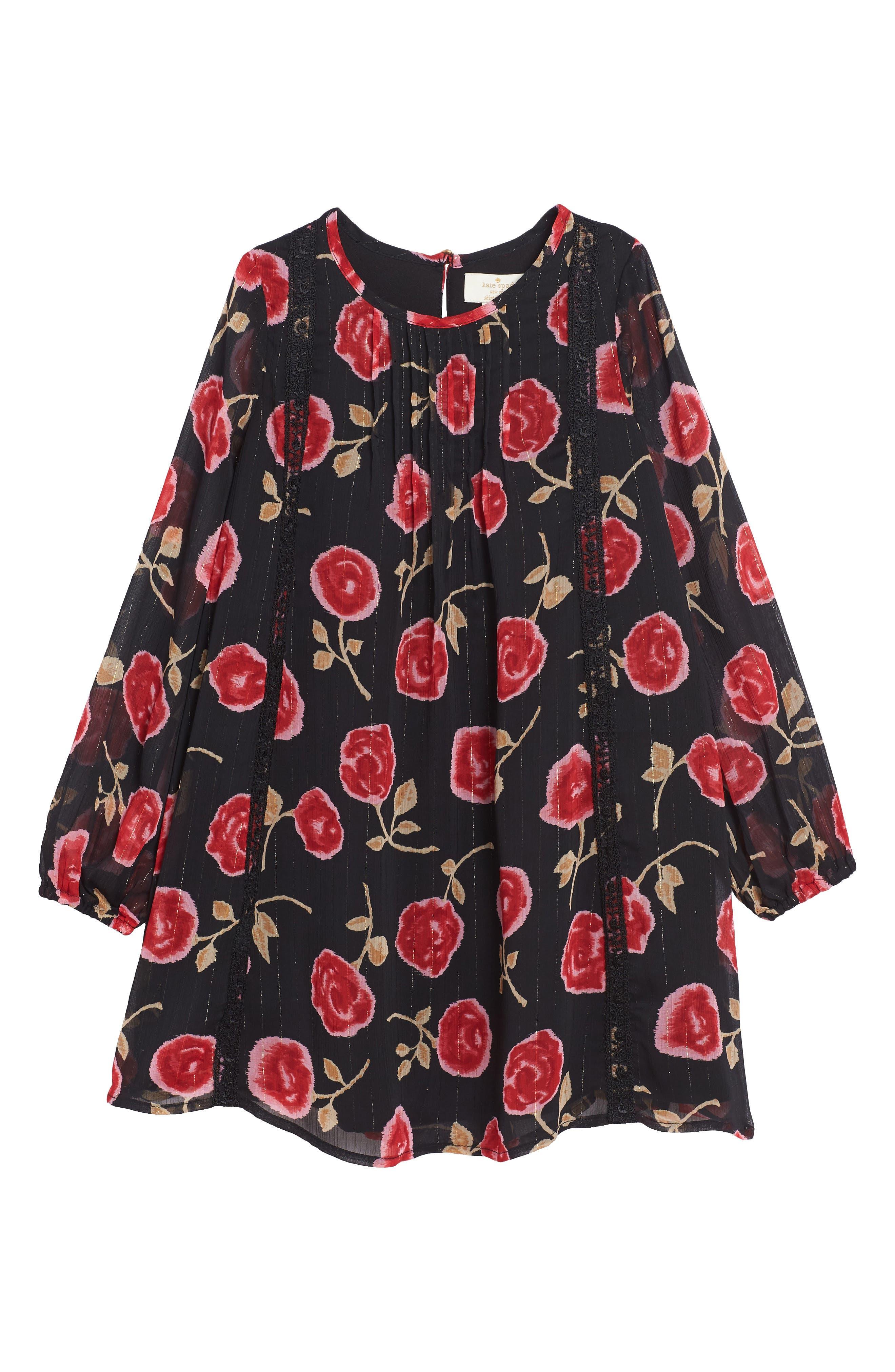 rose print chiffon dress,                         Main,                         color, Hazy Rose