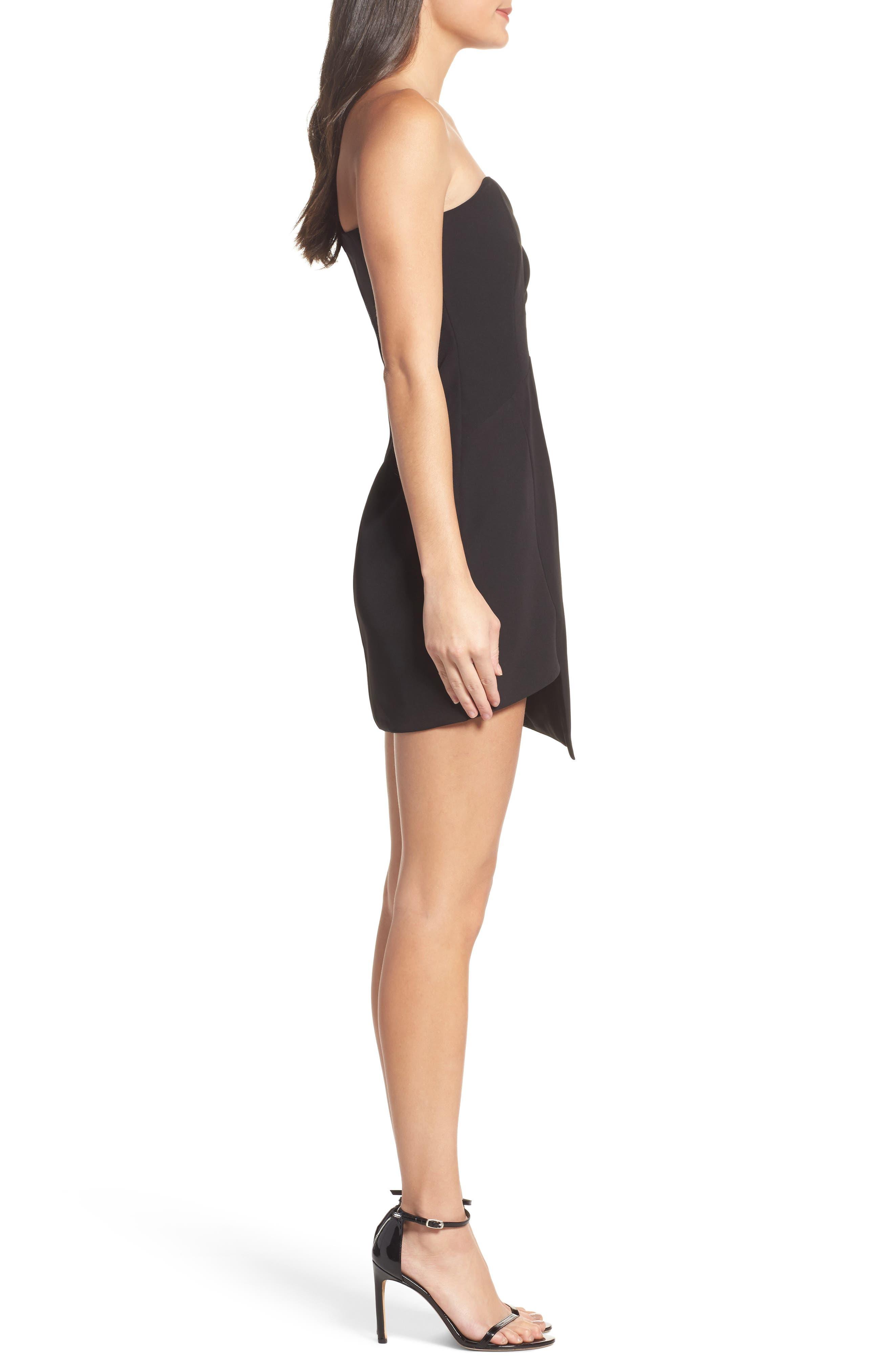 Anja One-Shoulder Sheath Dress,                             Alternate thumbnail 3, color,                             Black