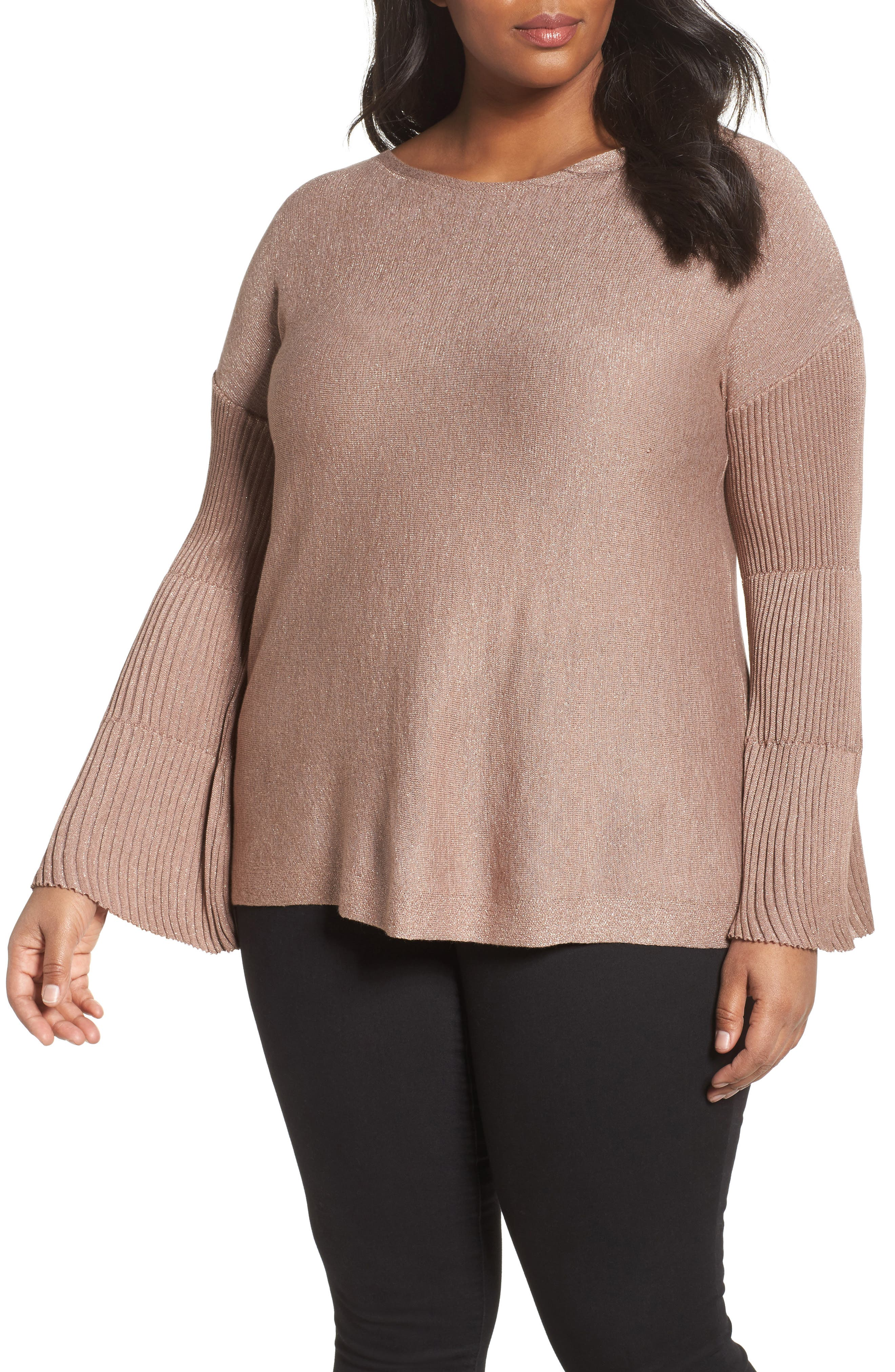 Sparkly Bell Sleeve Sweater,                         Main,                         color, Rose Taupe