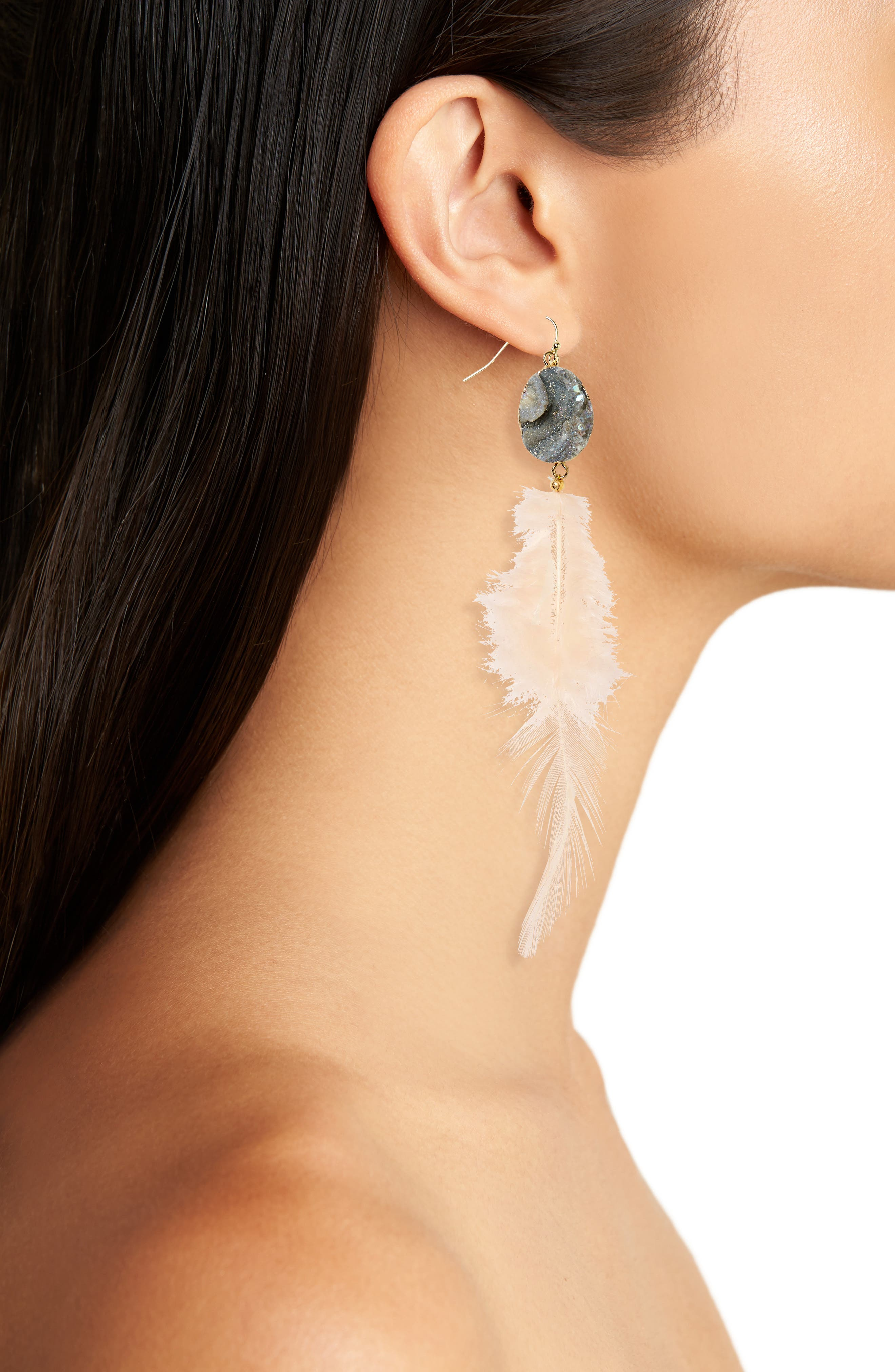 Sunstone Feather Earrings,                             Alternate thumbnail 2, color,                             White
