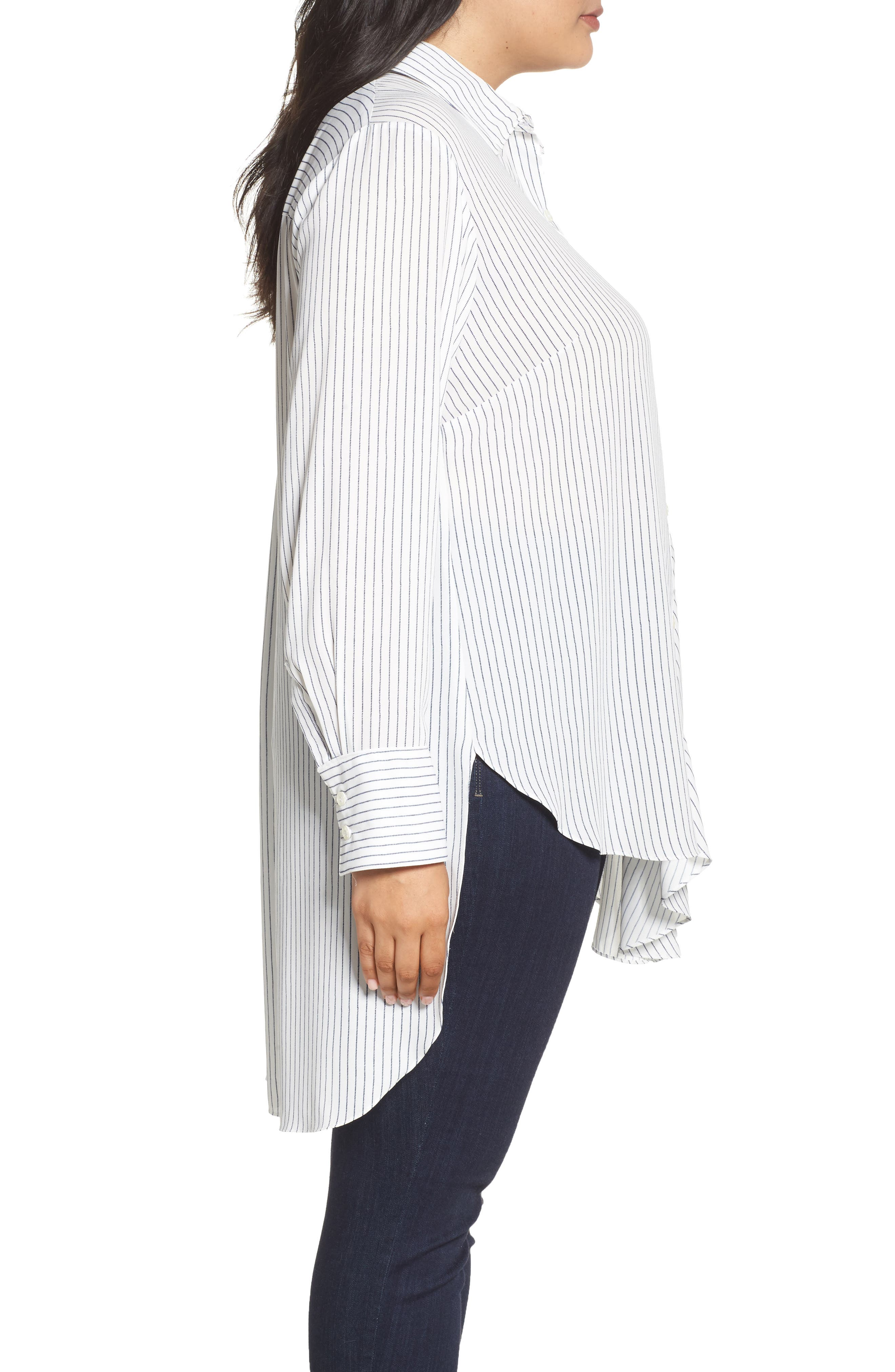 Alternate Image 3  - RACHEL Rachel Roy High/Low Pinstripe Shirt (Plus Size)