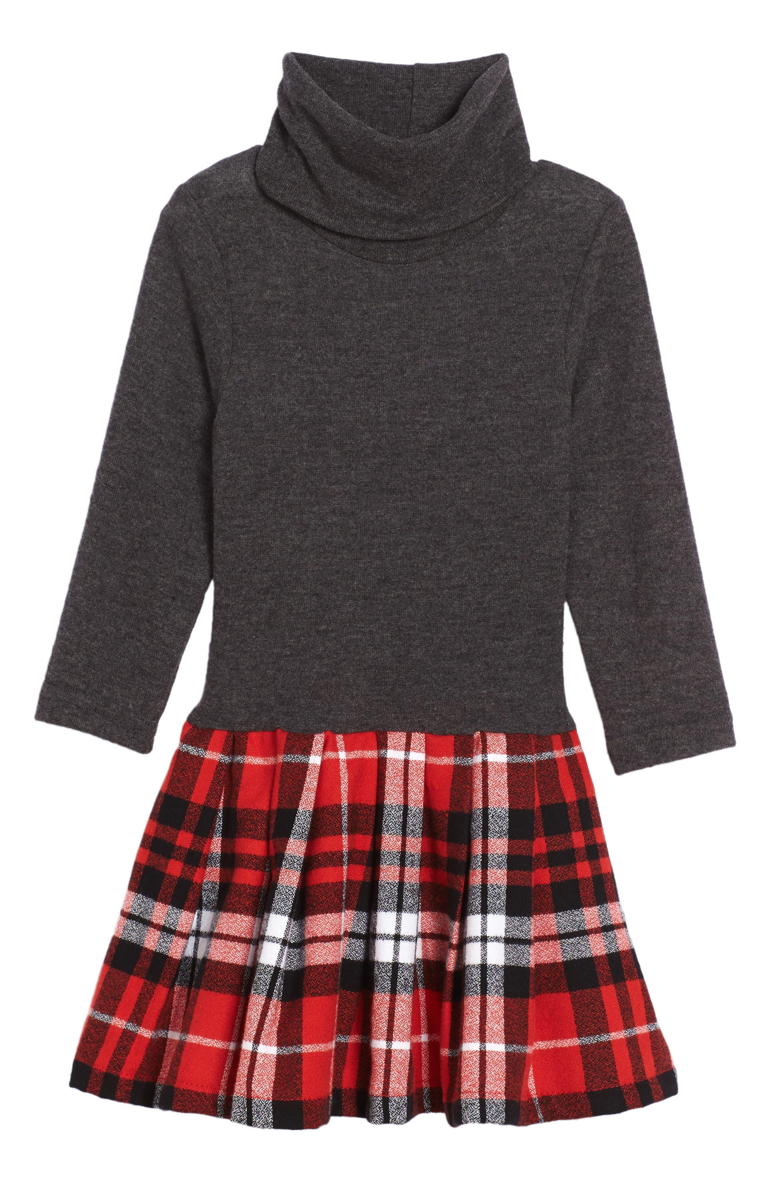 Mixed Media Dress,                         Main,                         color, Red