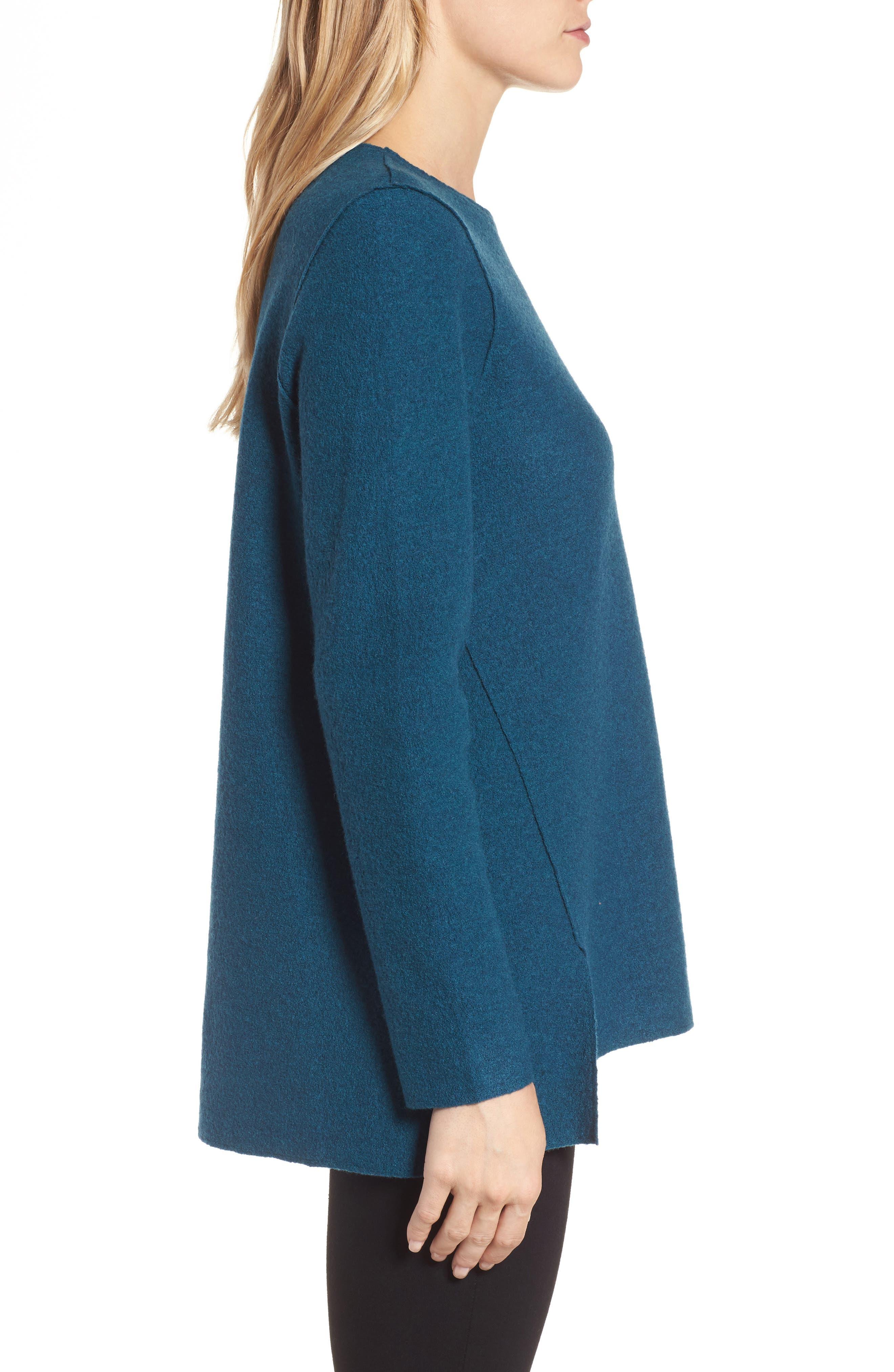 Boiled Merino Wool Top,                             Alternate thumbnail 3, color,                             Blue Spruce