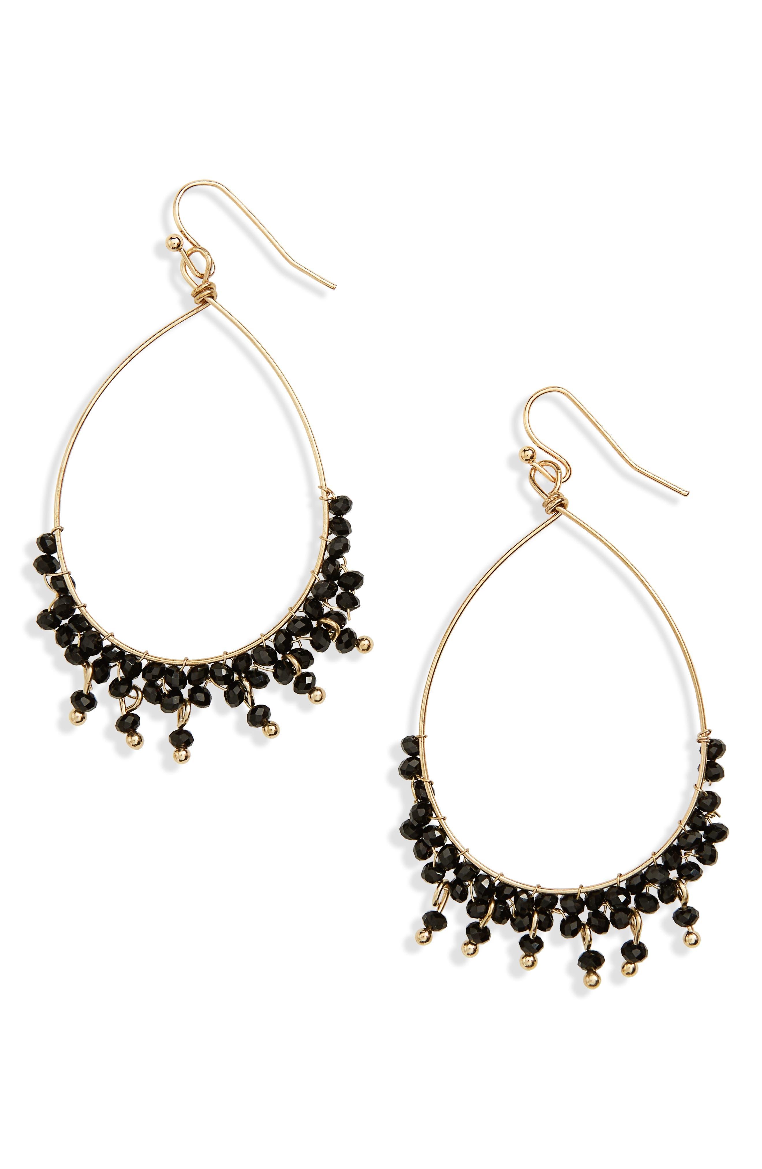 Crystal Teardrop Earrings,                         Main,                         color, Black