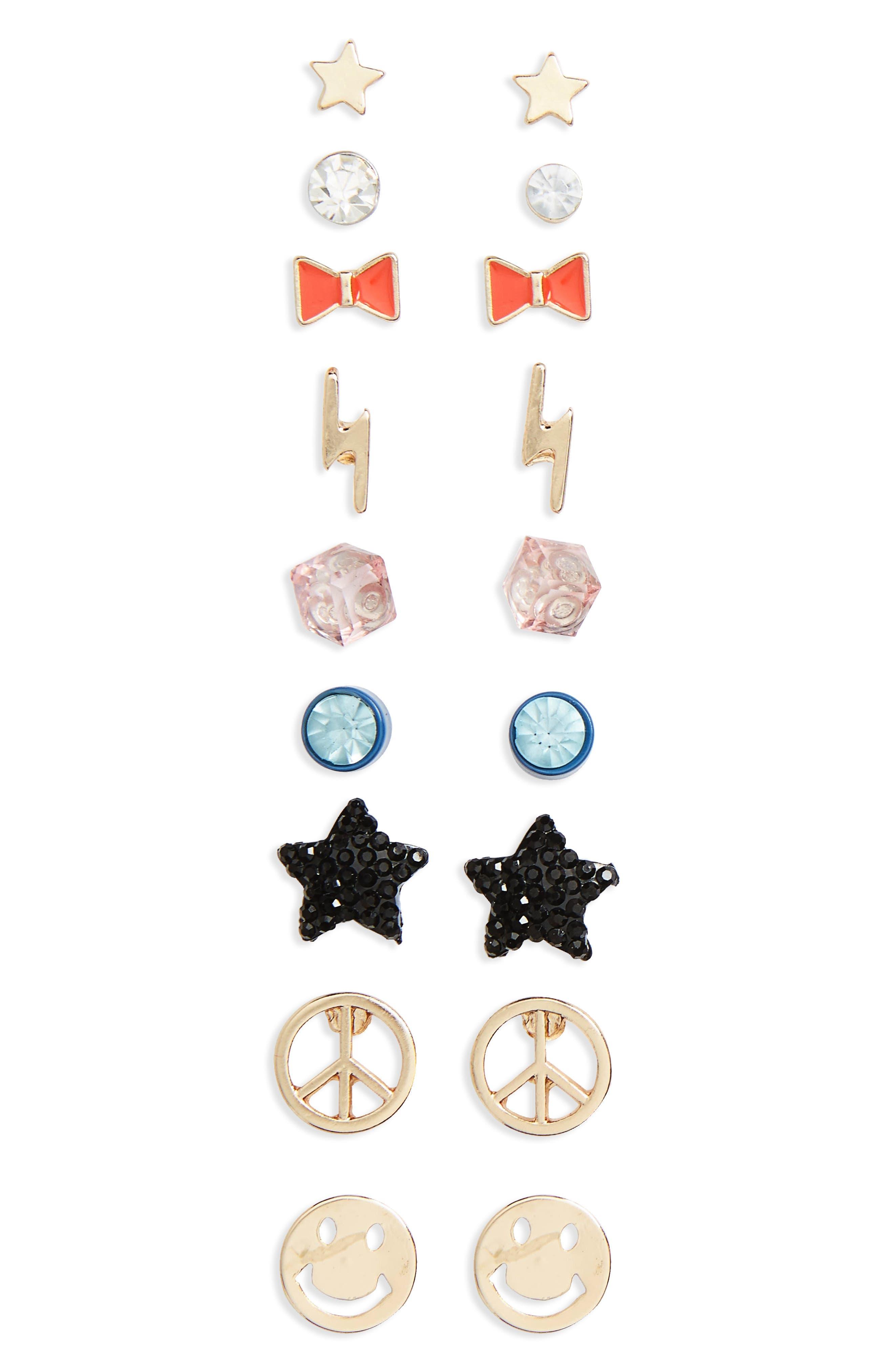 Alternate Image 1 Selected - Capelli New York 9-Pack Earring Set (Girls)