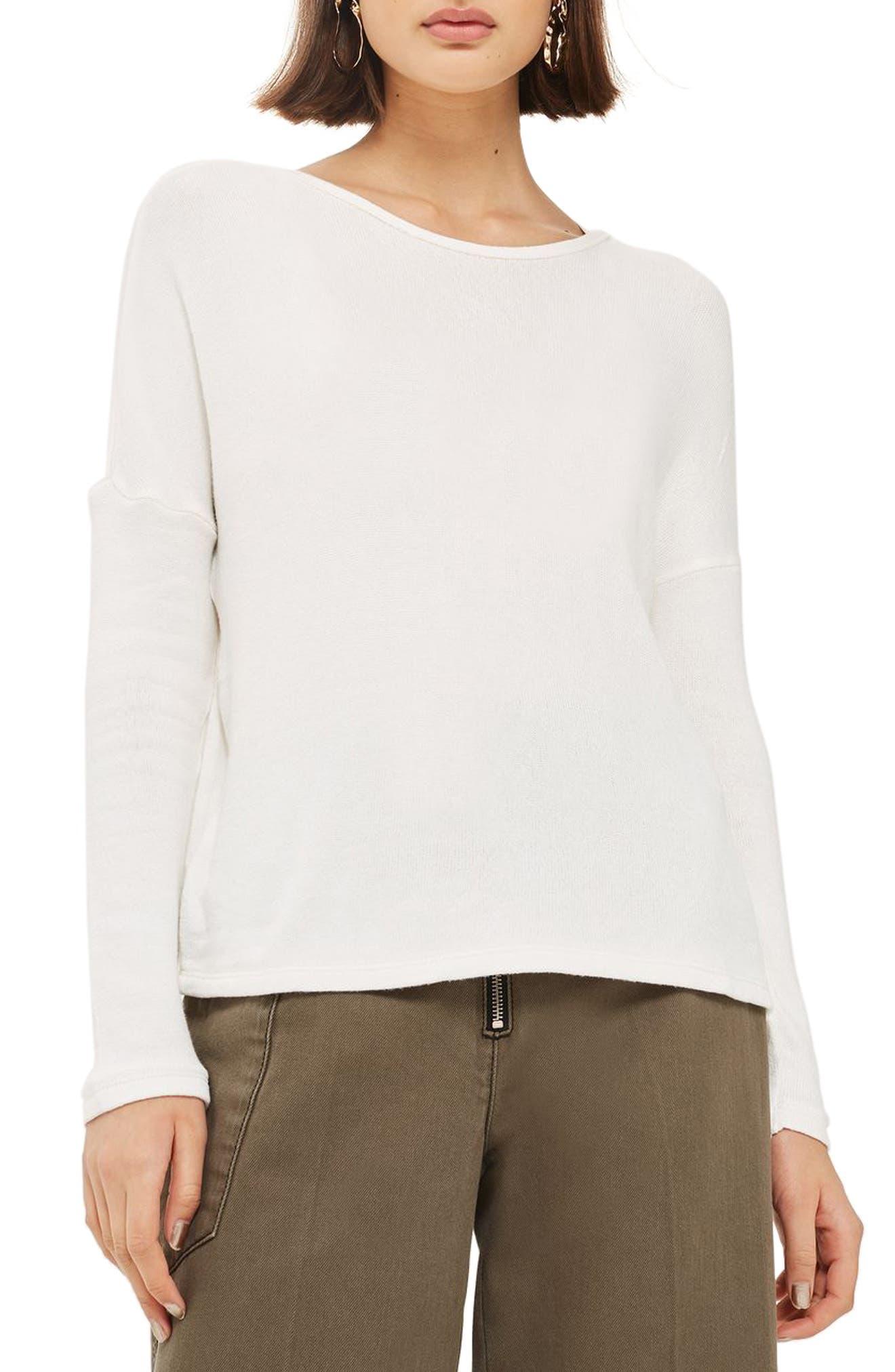 Topshop Drop Shoulder Tie Back Sweater