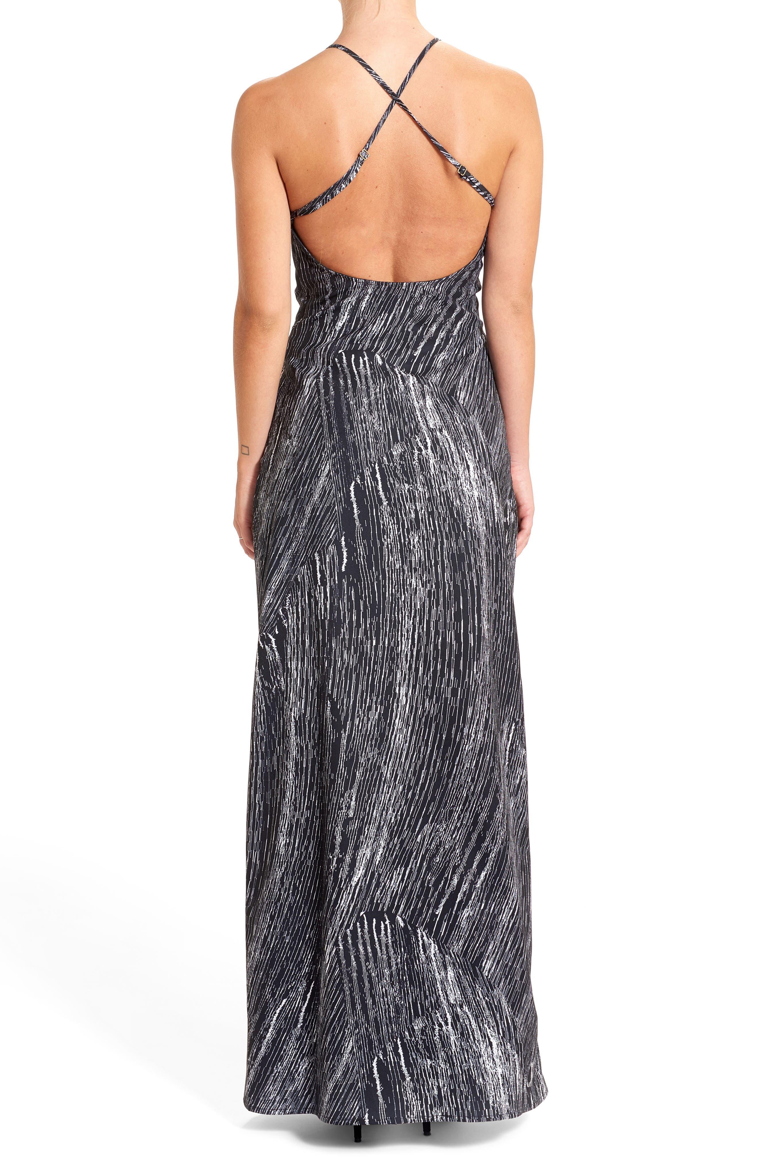 Halter Maxi Dress,                             Alternate thumbnail 2, color,                             Creme/ Black
