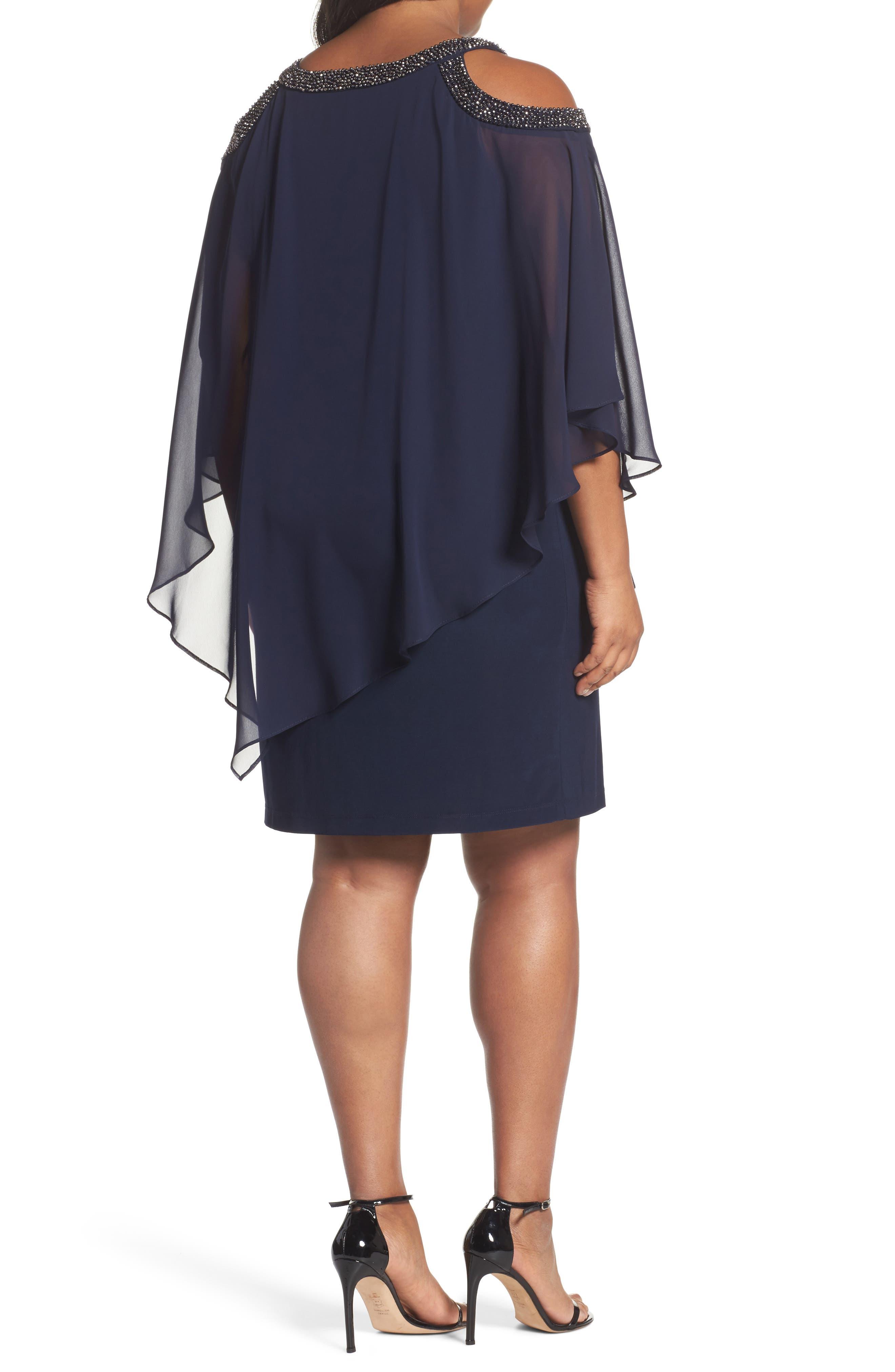 Chiffon Overlay Dress,                             Alternate thumbnail 2, color,                             Navy/ Gunmetal