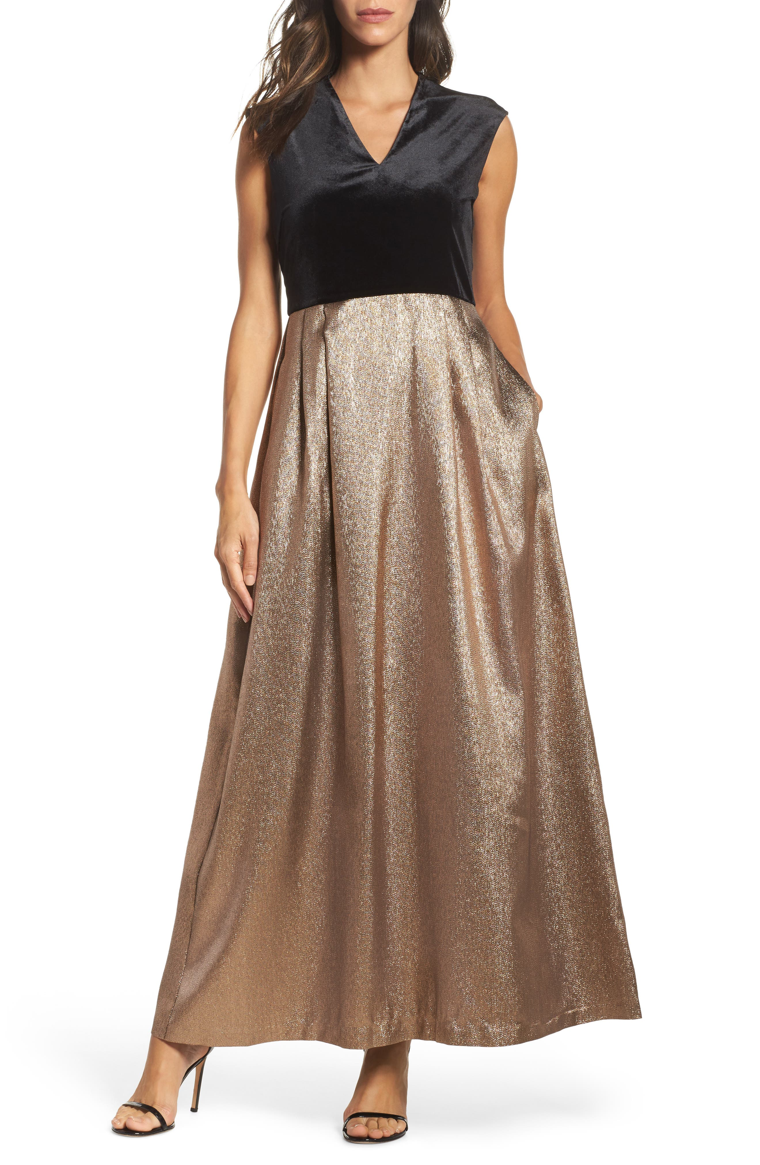 Velvet & Glitter Jacquard Gown,                         Main,                         color, Black Gold