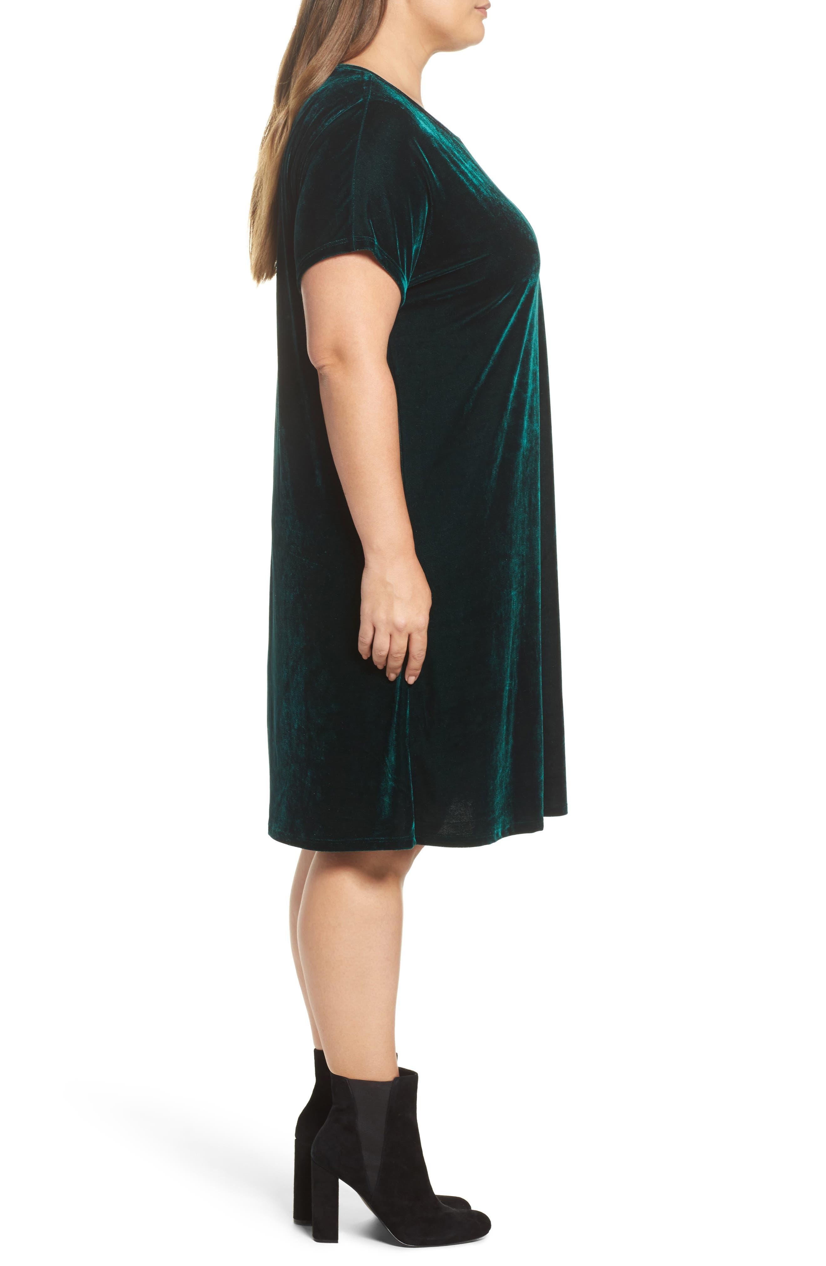 Velvet Shift Dress,                             Alternate thumbnail 3, color,                             Pine Green