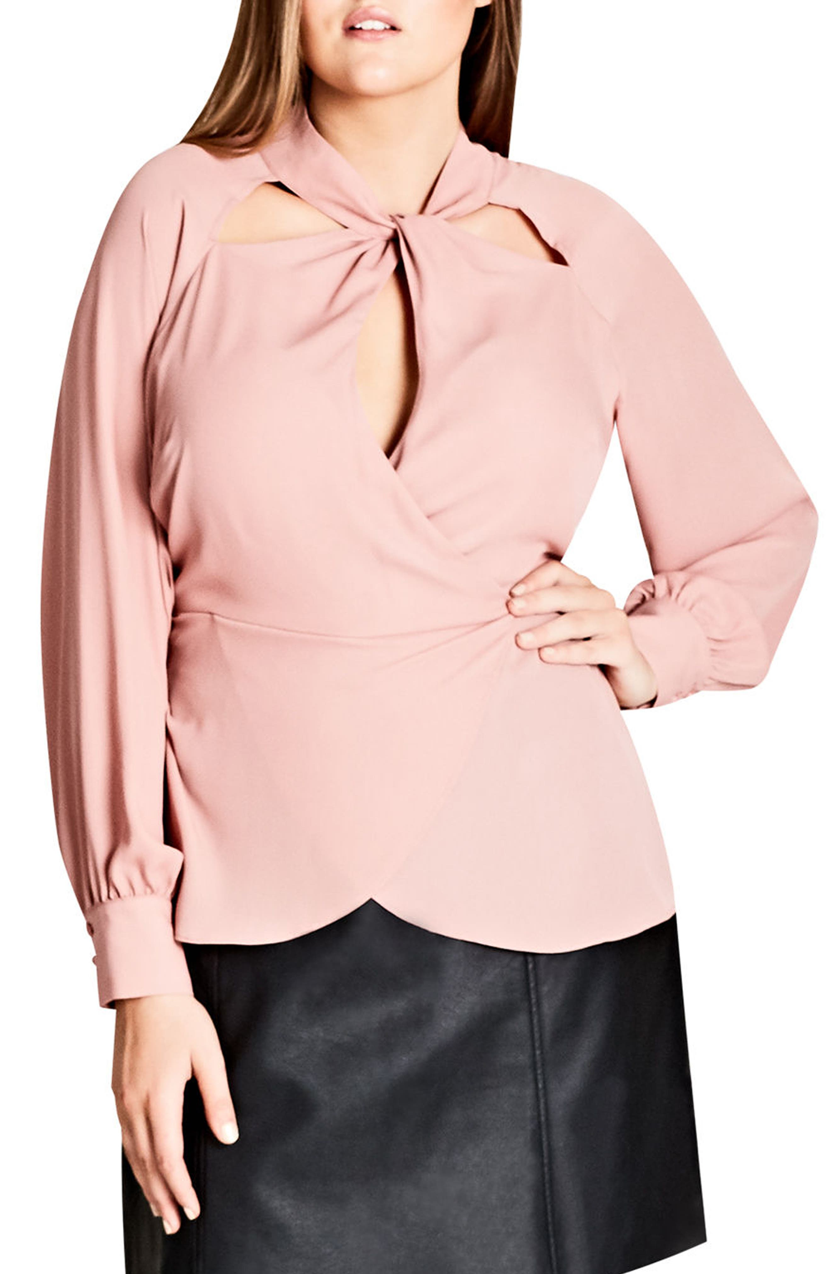 Main Image - City Chic Peek Through Faux Wrap Top (Plus Size)