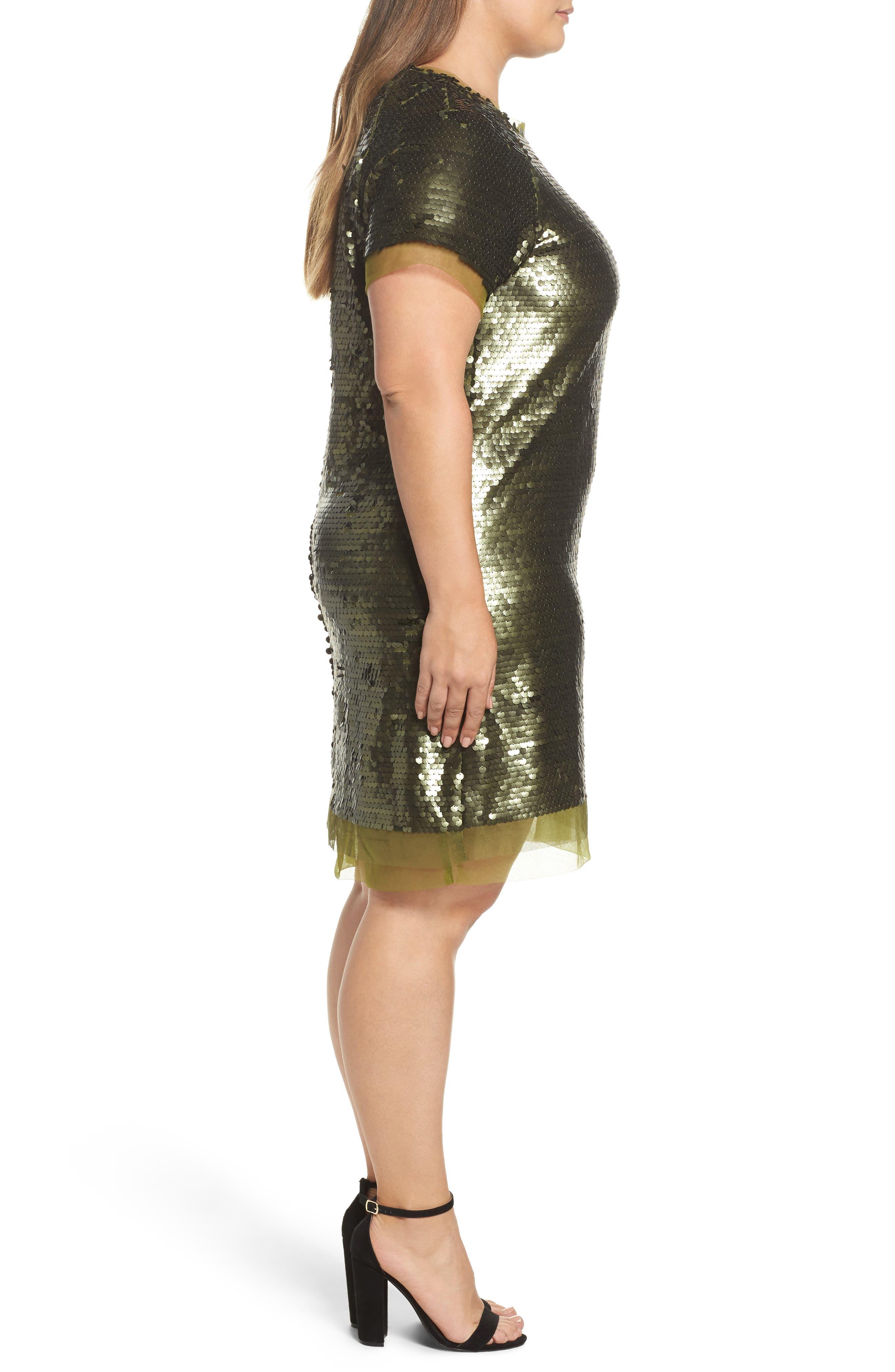 Alternate Image 3  - ELVI Sequin Mini Dress (Plus Size)