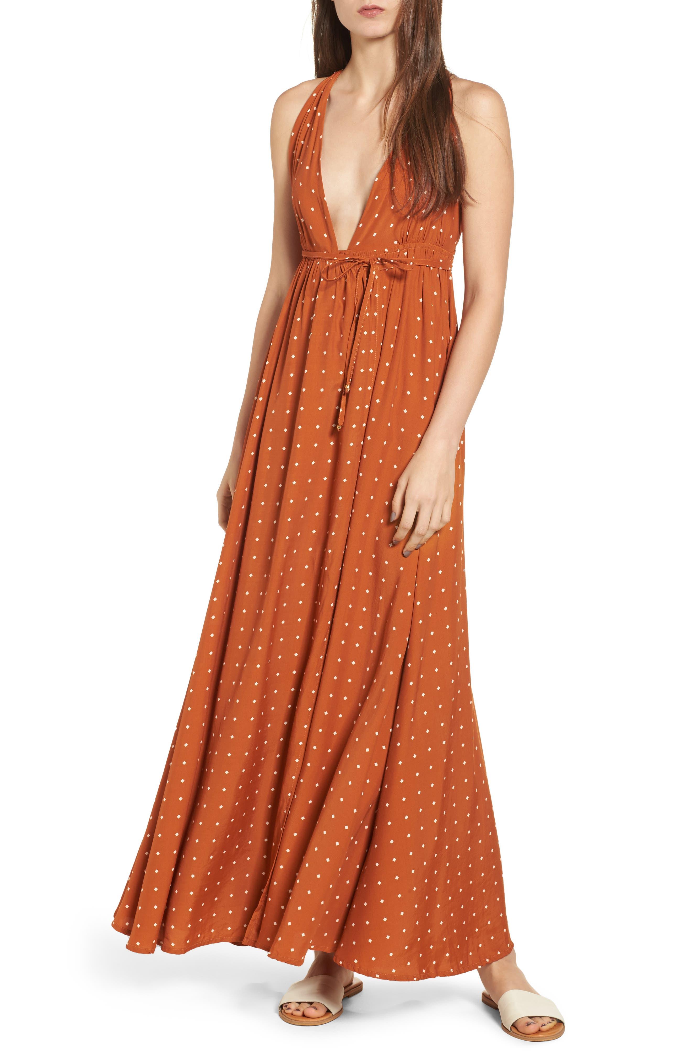 Santa Rosa Maxi Dress,                             Main thumbnail 1, color,                             Stefano Print - Ginger