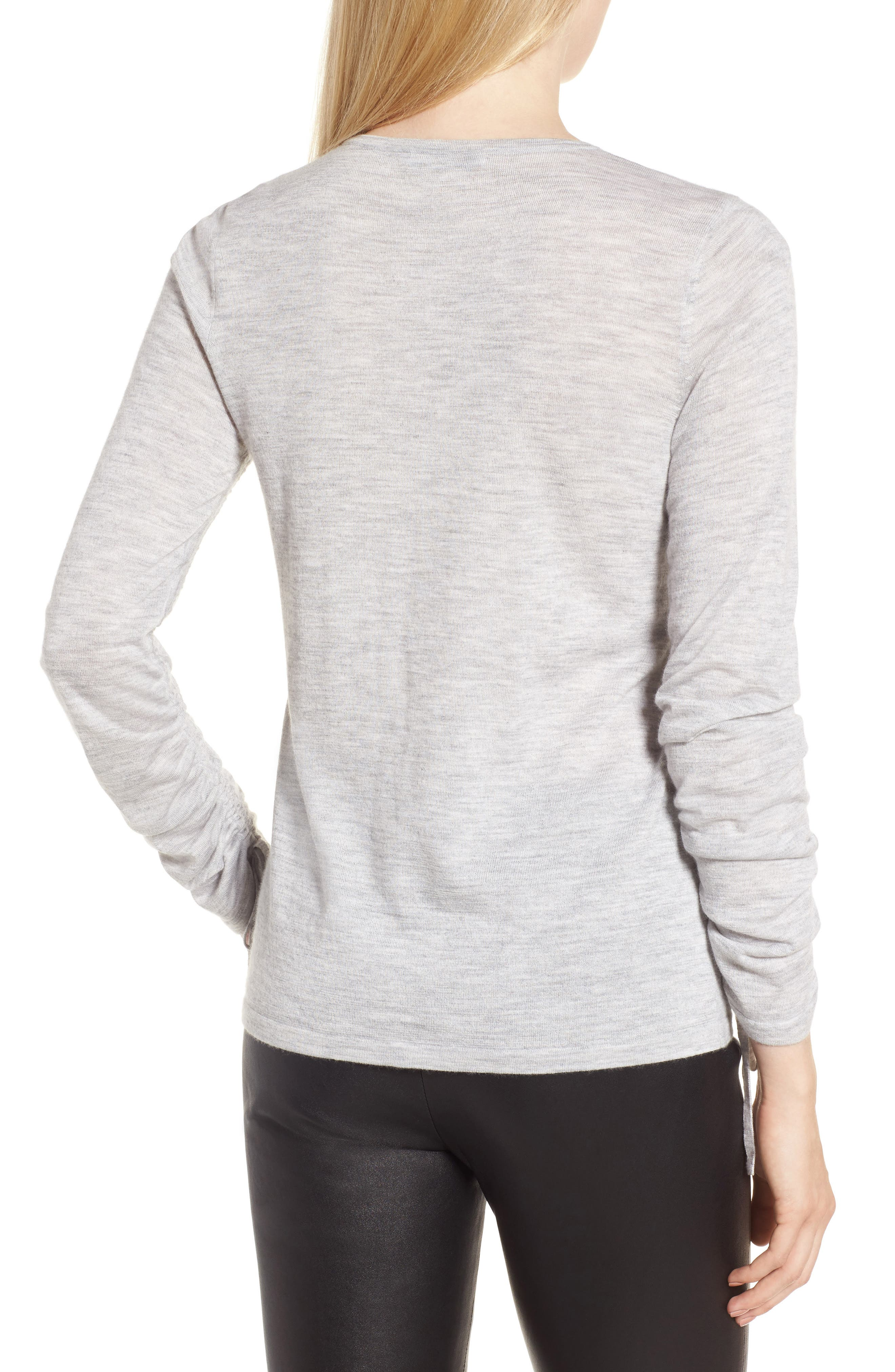 Cashmere Ruched Sleeve Pullover,                             Alternate thumbnail 2, color,                             Grey Clay Heather