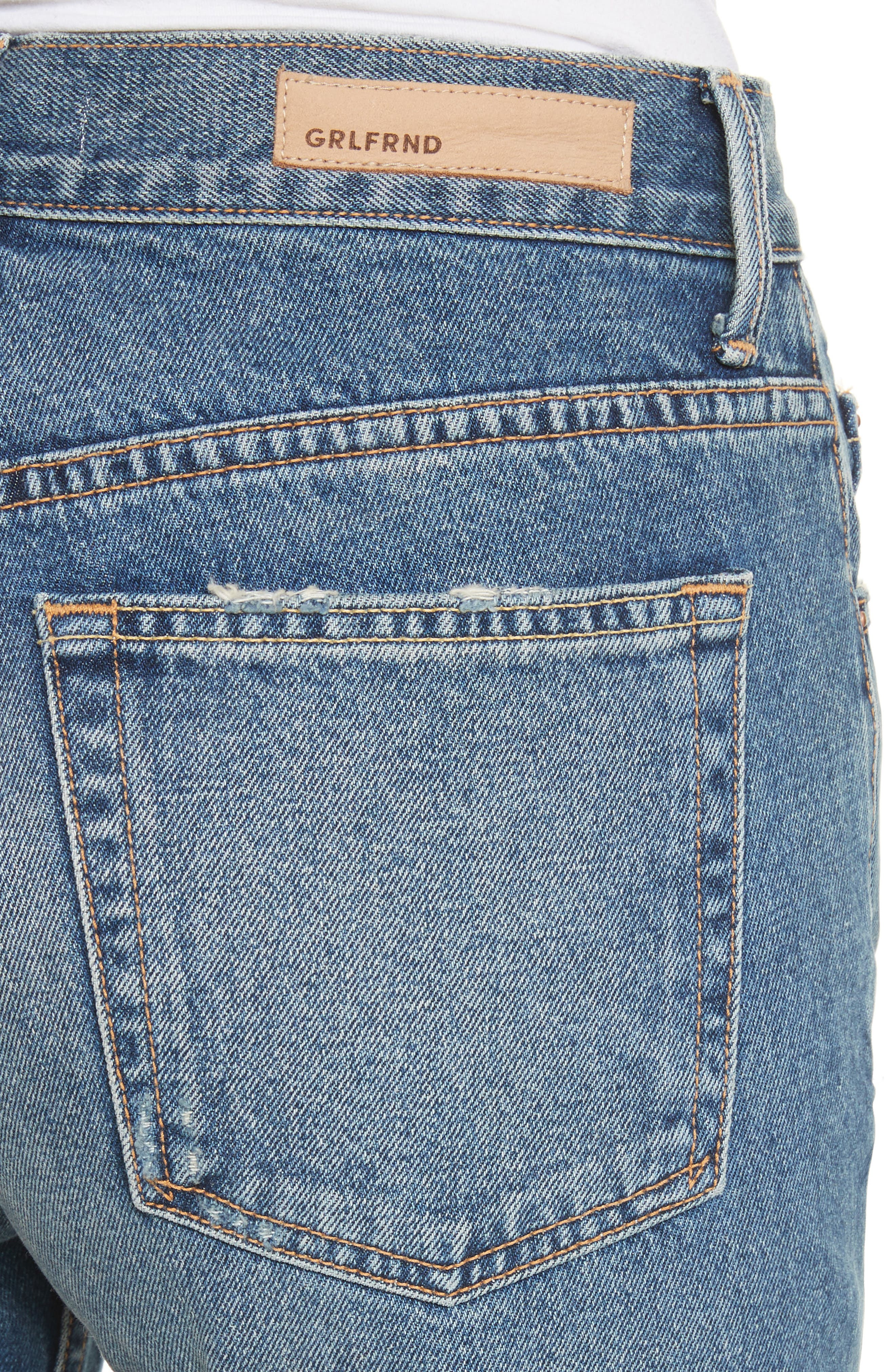 Linda Ripped Rigid High Waist Pop Crop Jeans,                             Alternate thumbnail 4, color,                             Zodiac