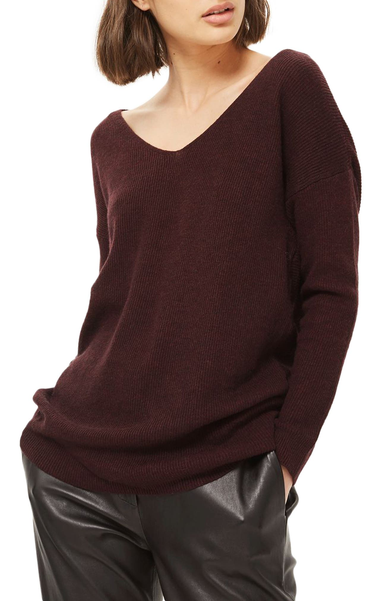 Twist Back Sweater,                             Main thumbnail 1, color,                             Burgundy