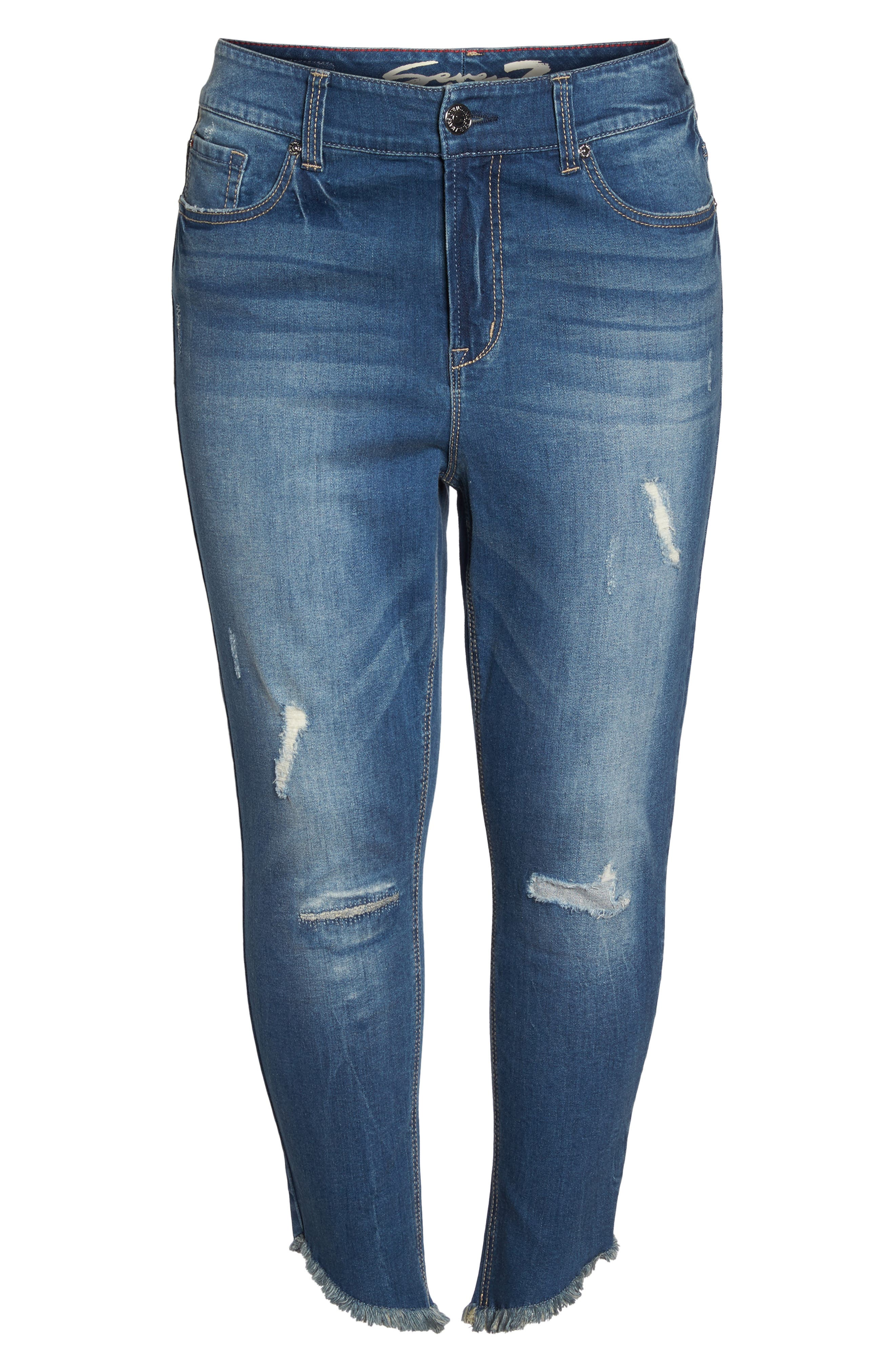 Alternate Image 6  - Seven7 Frayed Hem Skinny Jeans (Plus Size)