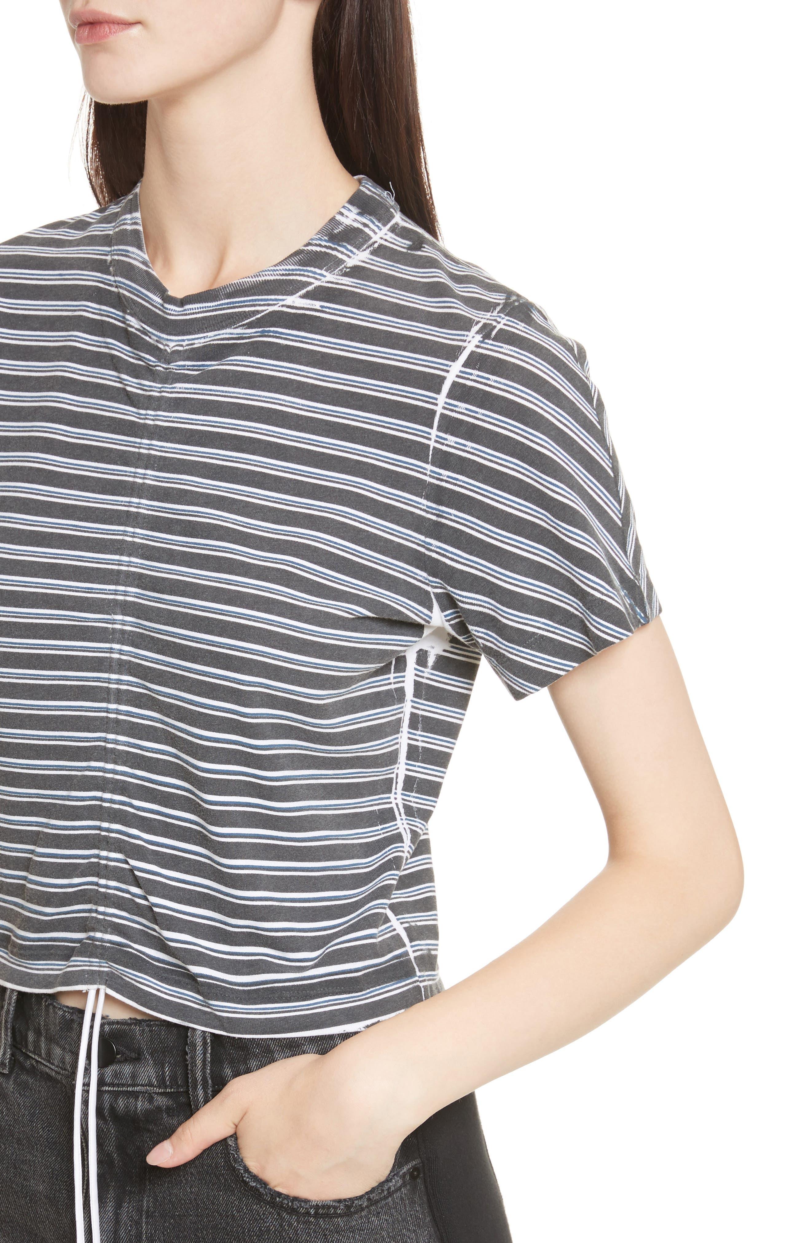 Ruched Stripe Cotton Tee,                             Alternate thumbnail 4, color,                             Black/ White/ Indigo Stripe