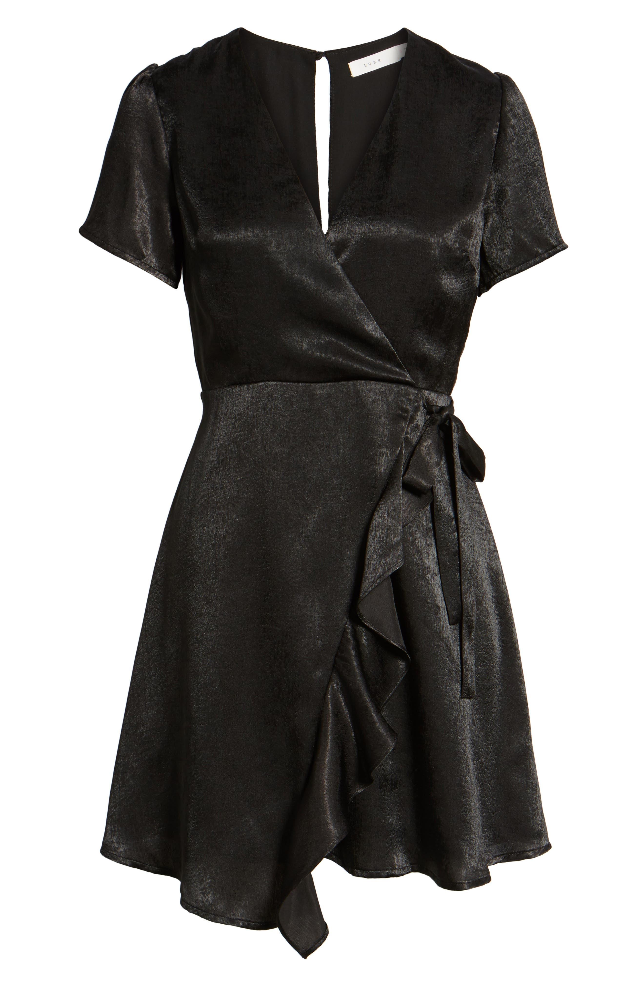 Satin Faux Wrap Dress,                             Alternate thumbnail 6, color,                             Black